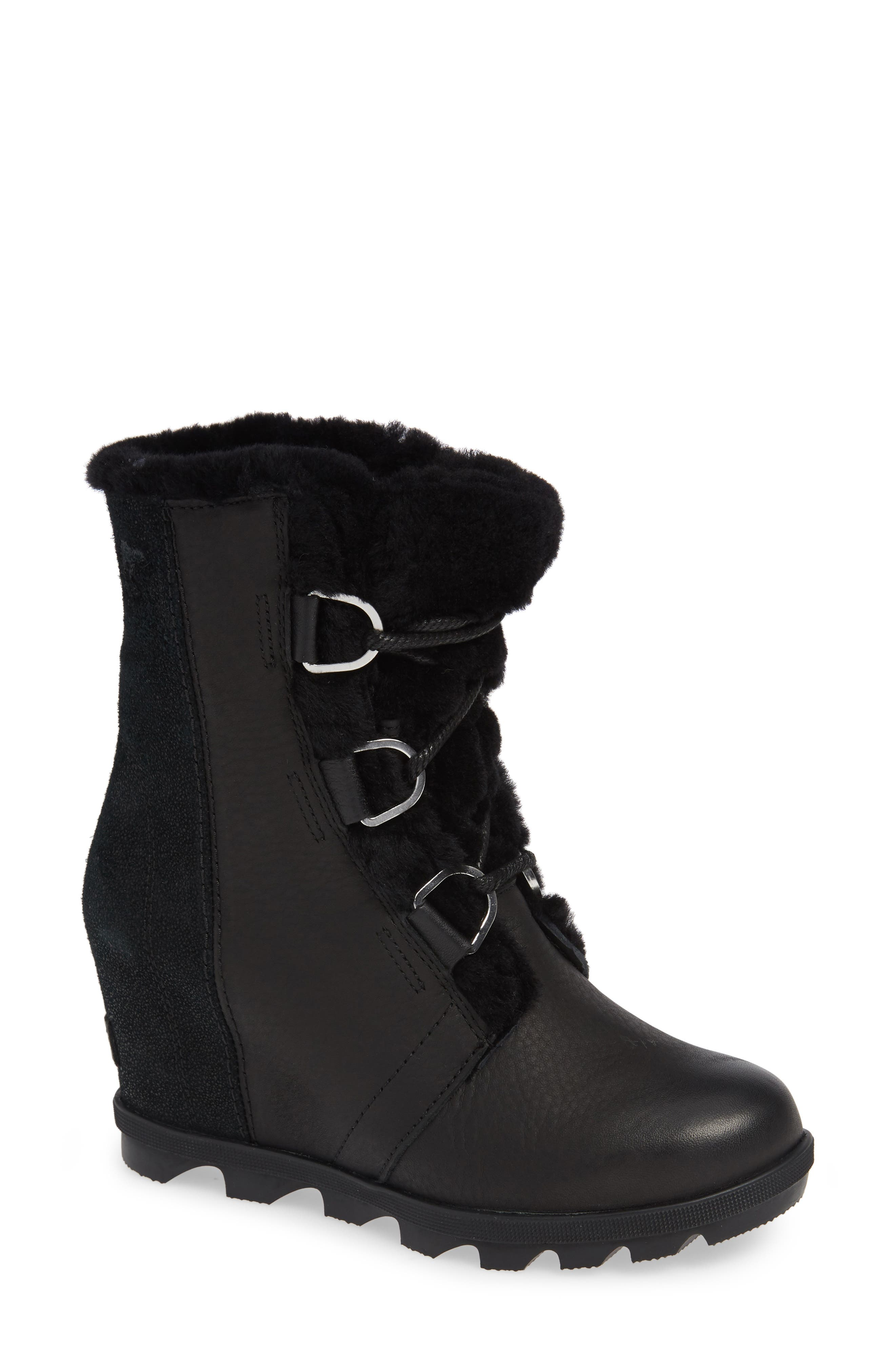 Joan of Arctic II Lux Wedge Genuine Shearling Bootie,                         Main,                         color, BLACK