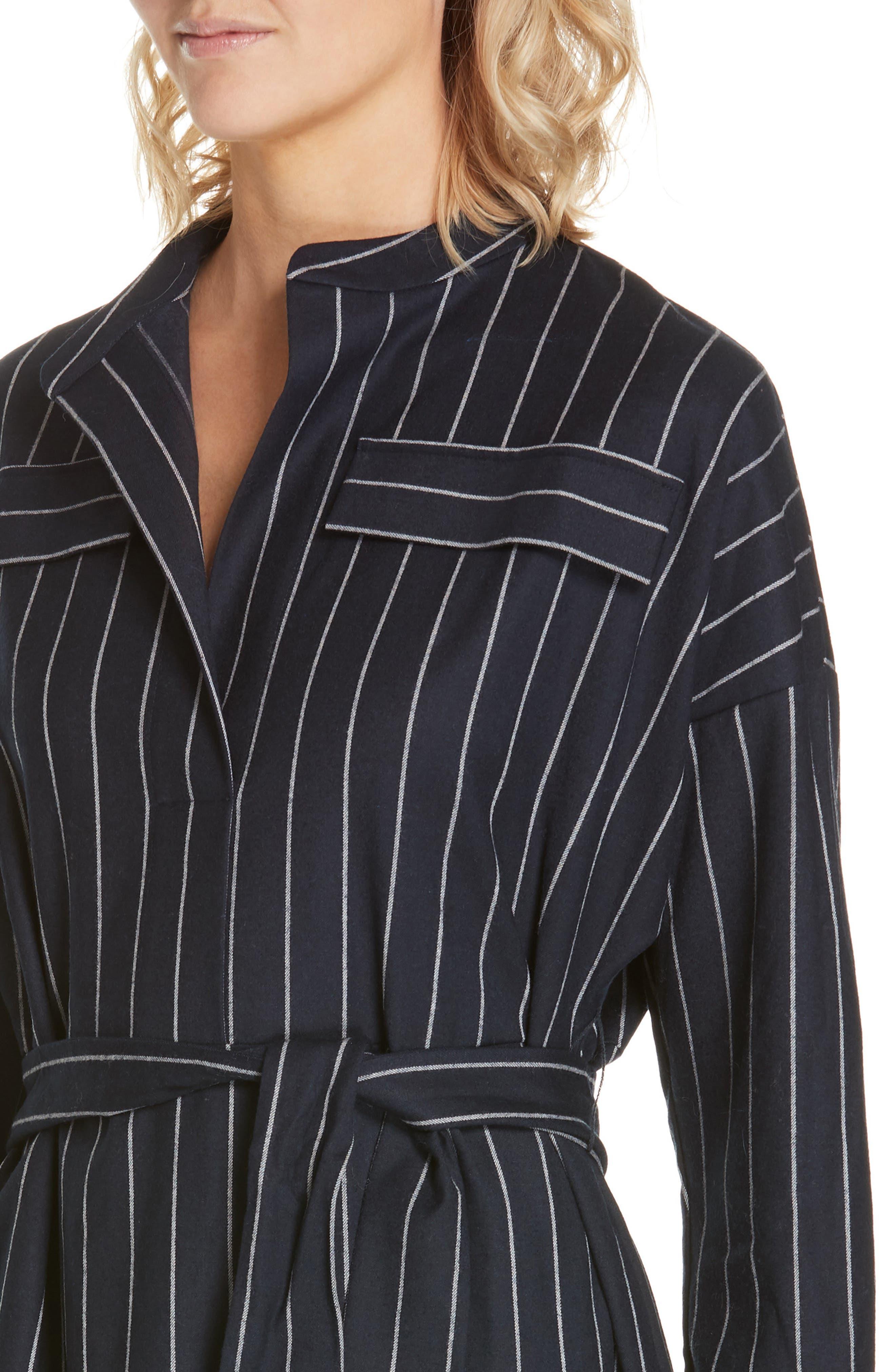 NORDSTROM SIGNATURE,                             Belted Shirtdress,                             Alternate thumbnail 4, color,                             NAVY- WHITE PREPPY STRIPE