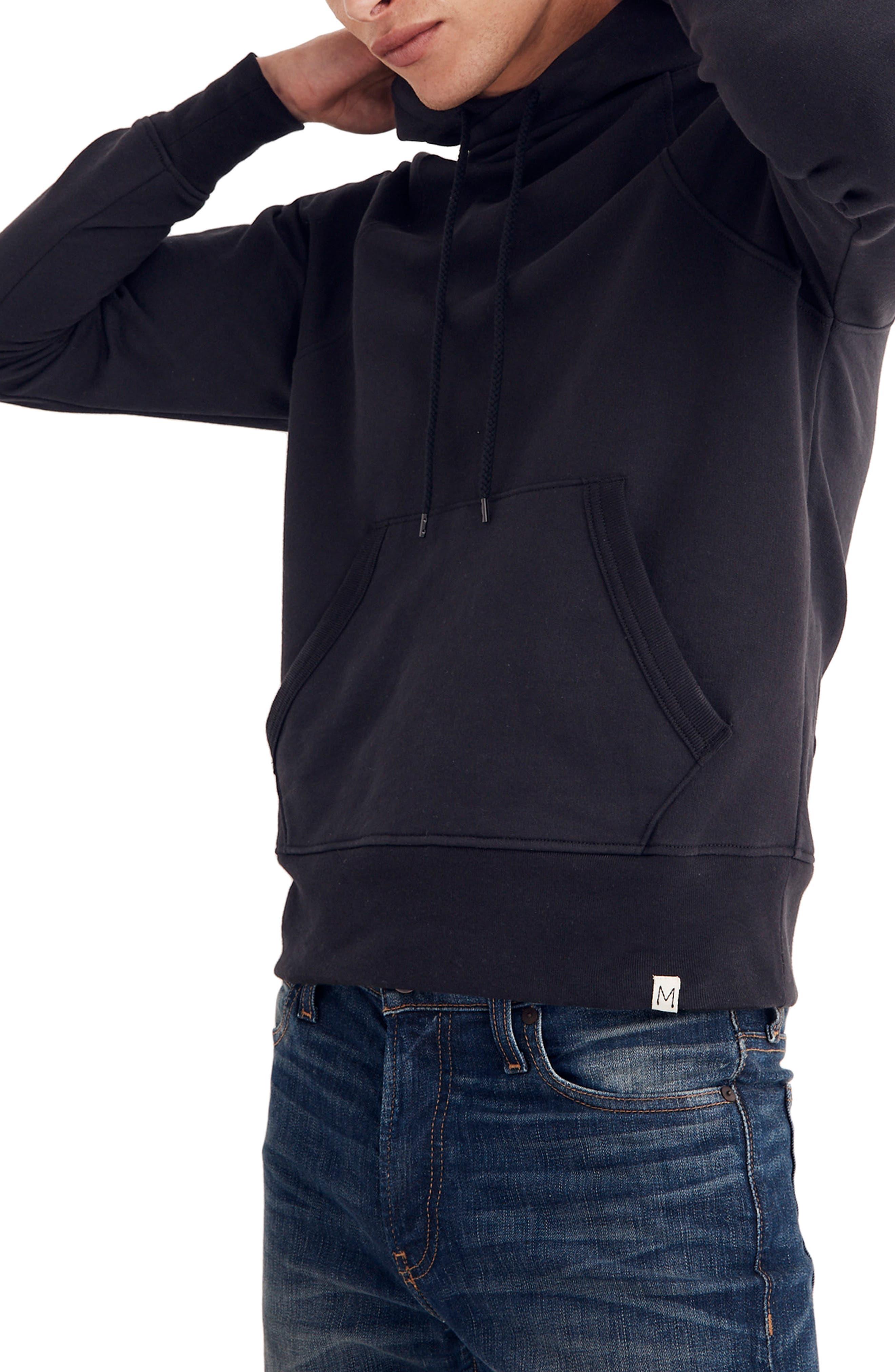 Cotton Hoodie,                         Main,                         color, BLACK