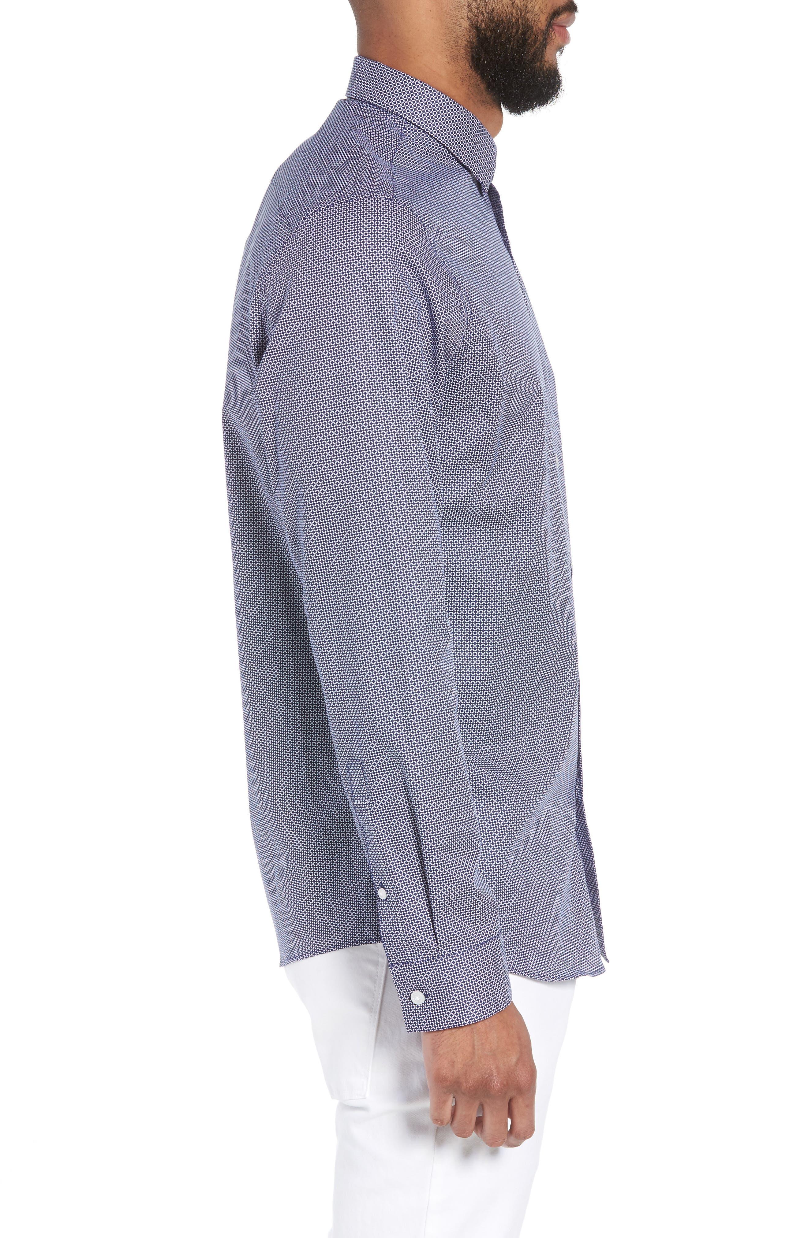 Trim Fit Micro Collar Sport Shirt,                             Alternate thumbnail 3, color,                             410