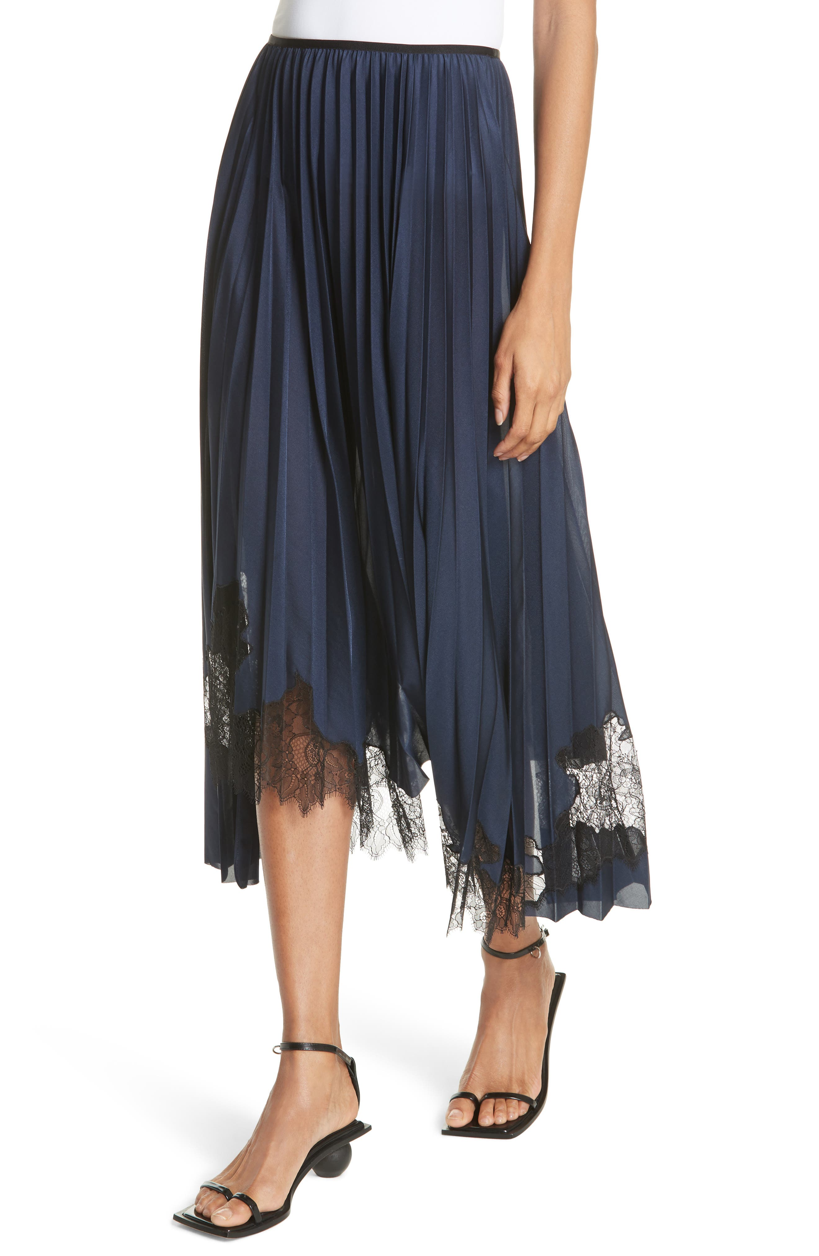 Pleated Lace Inset Skirt,                             Alternate thumbnail 4, color,                             BLUE