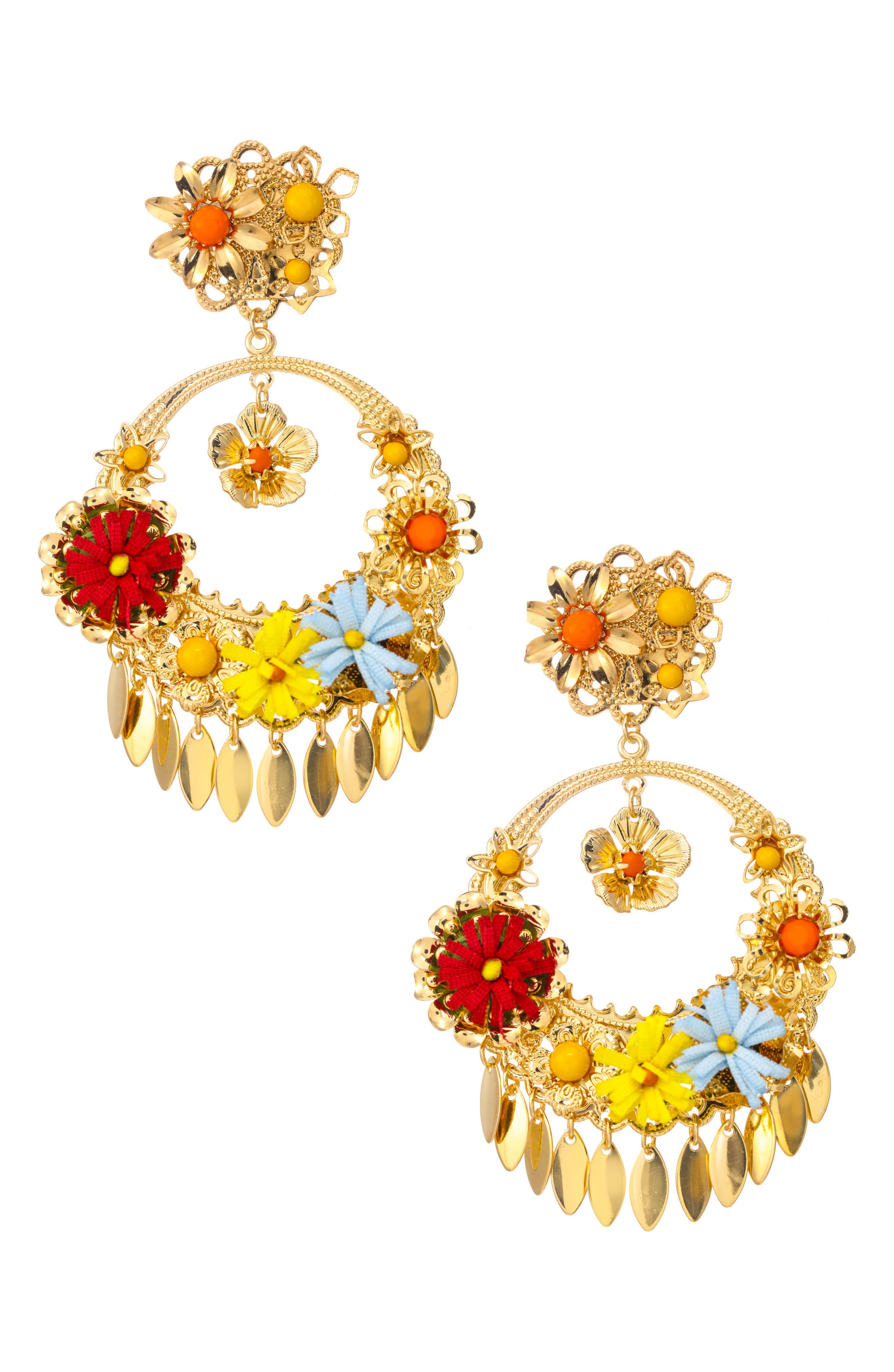 Dolce Statement Earrings,                             Main thumbnail 1, color,                             GOLD/ MULTI