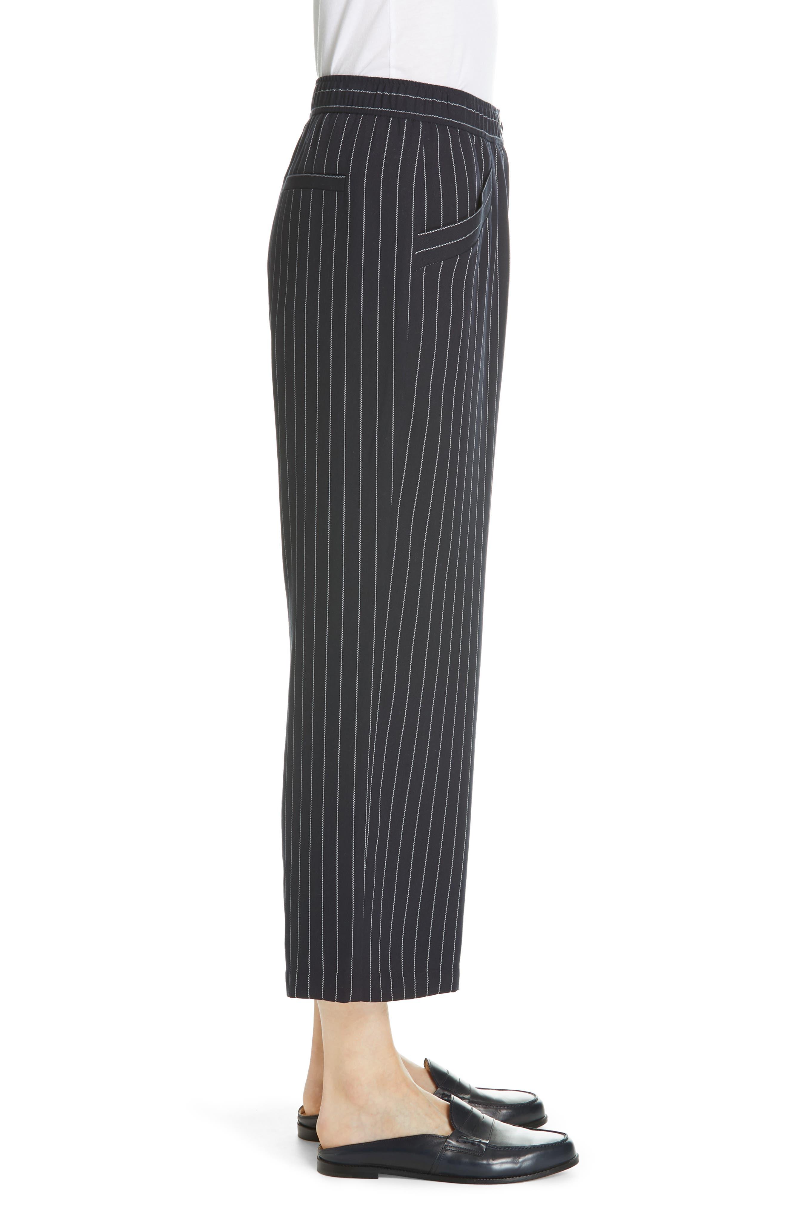 Pinstripe Crop Wide-Leg Pants,                             Alternate thumbnail 3, color,                             INDIGO