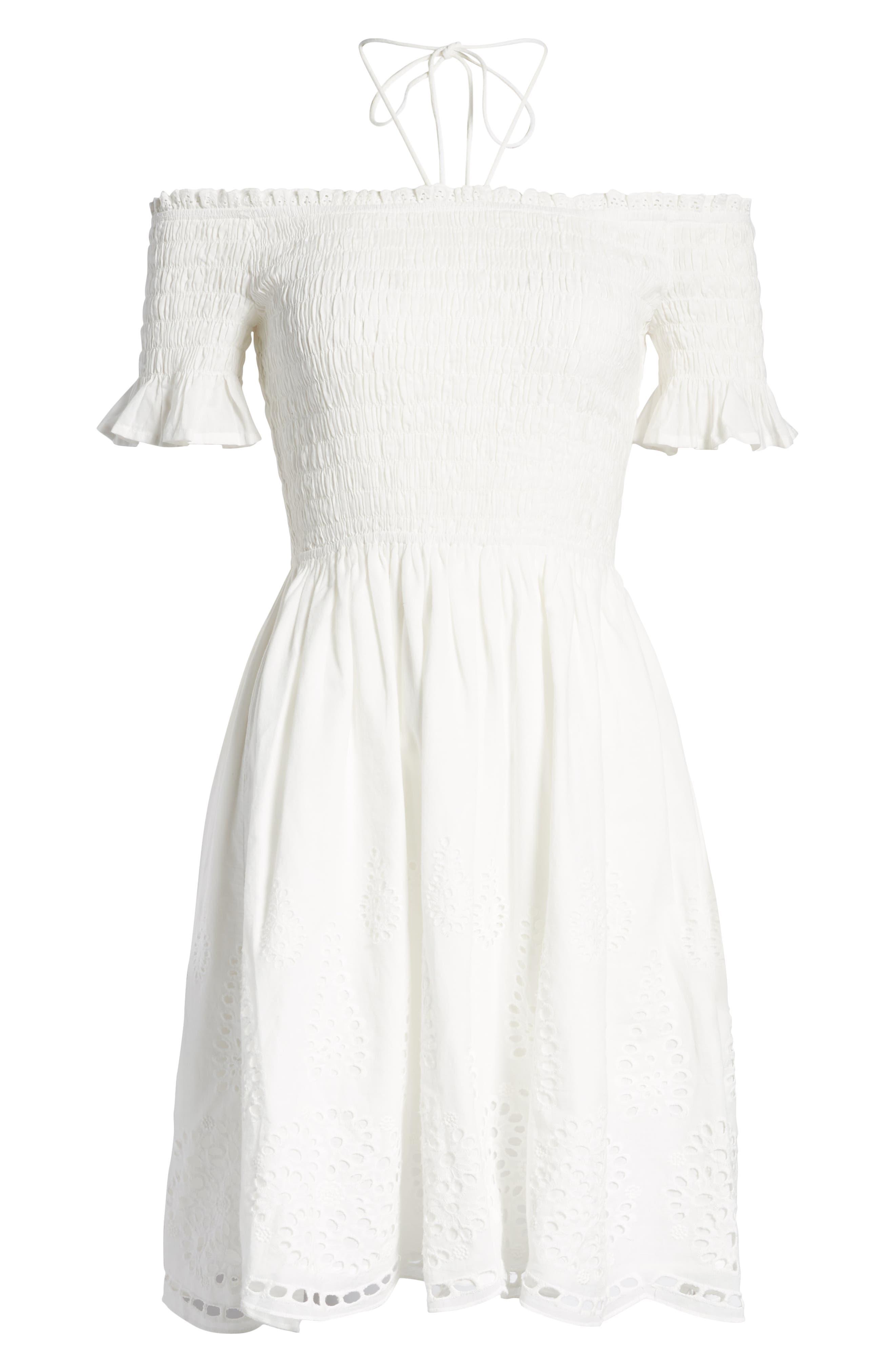 Smocked Off the Shoulder Dress,                             Alternate thumbnail 7, color,                             WHITE EYELET