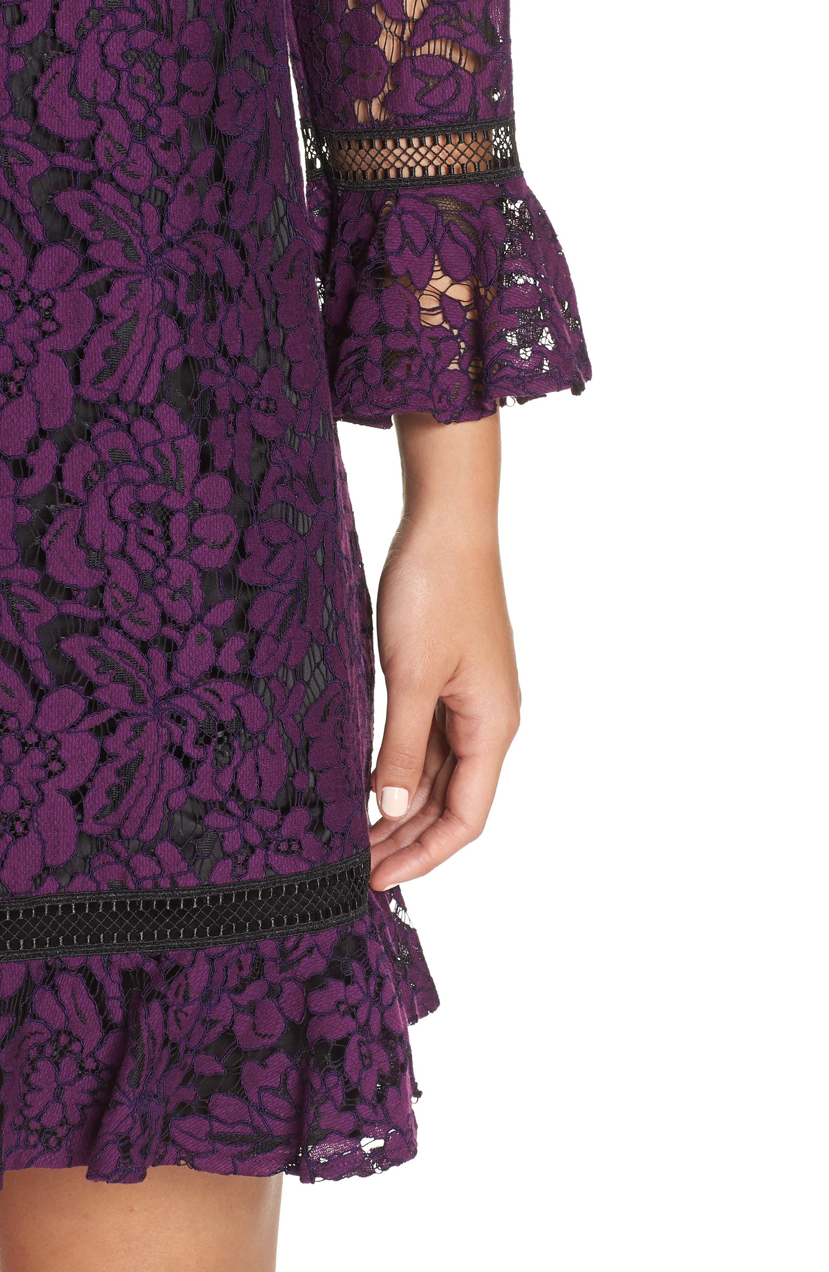 Flare Sleeve Lace Shift Dress,                             Alternate thumbnail 9, color,
