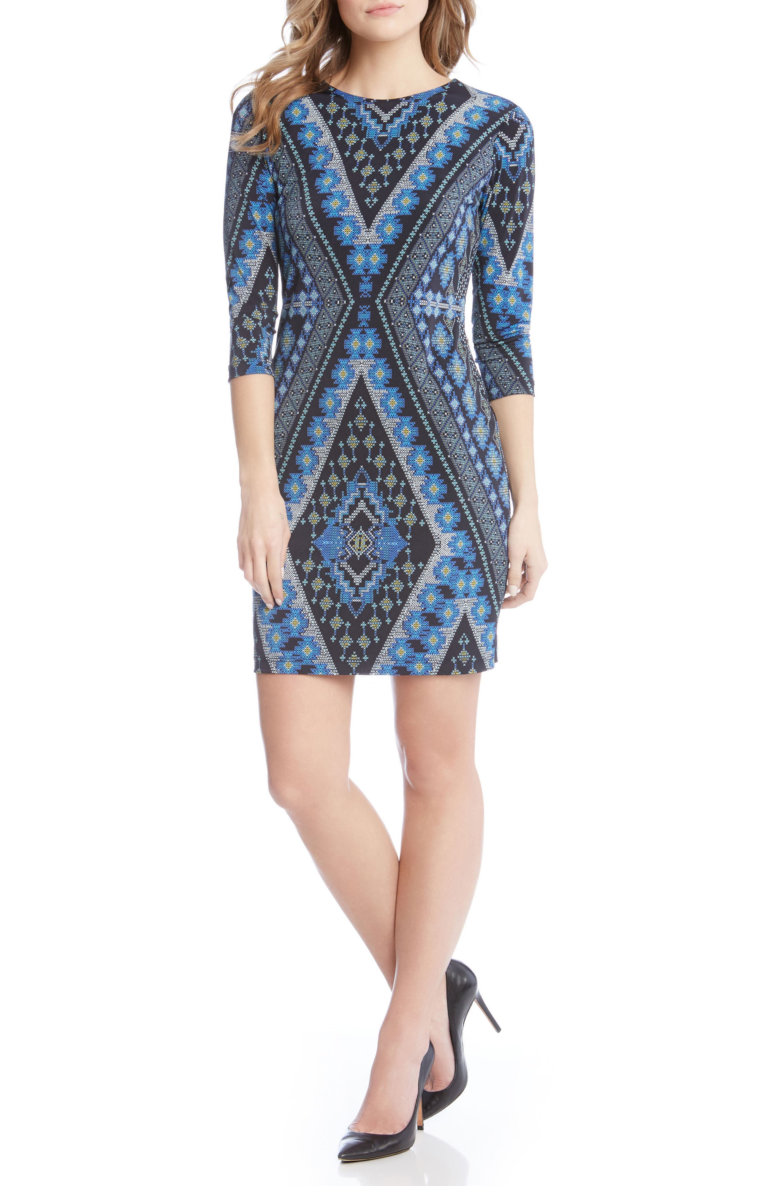 Diamond Print Jersey Sheath Dress,                             Main thumbnail 1, color,                             560
