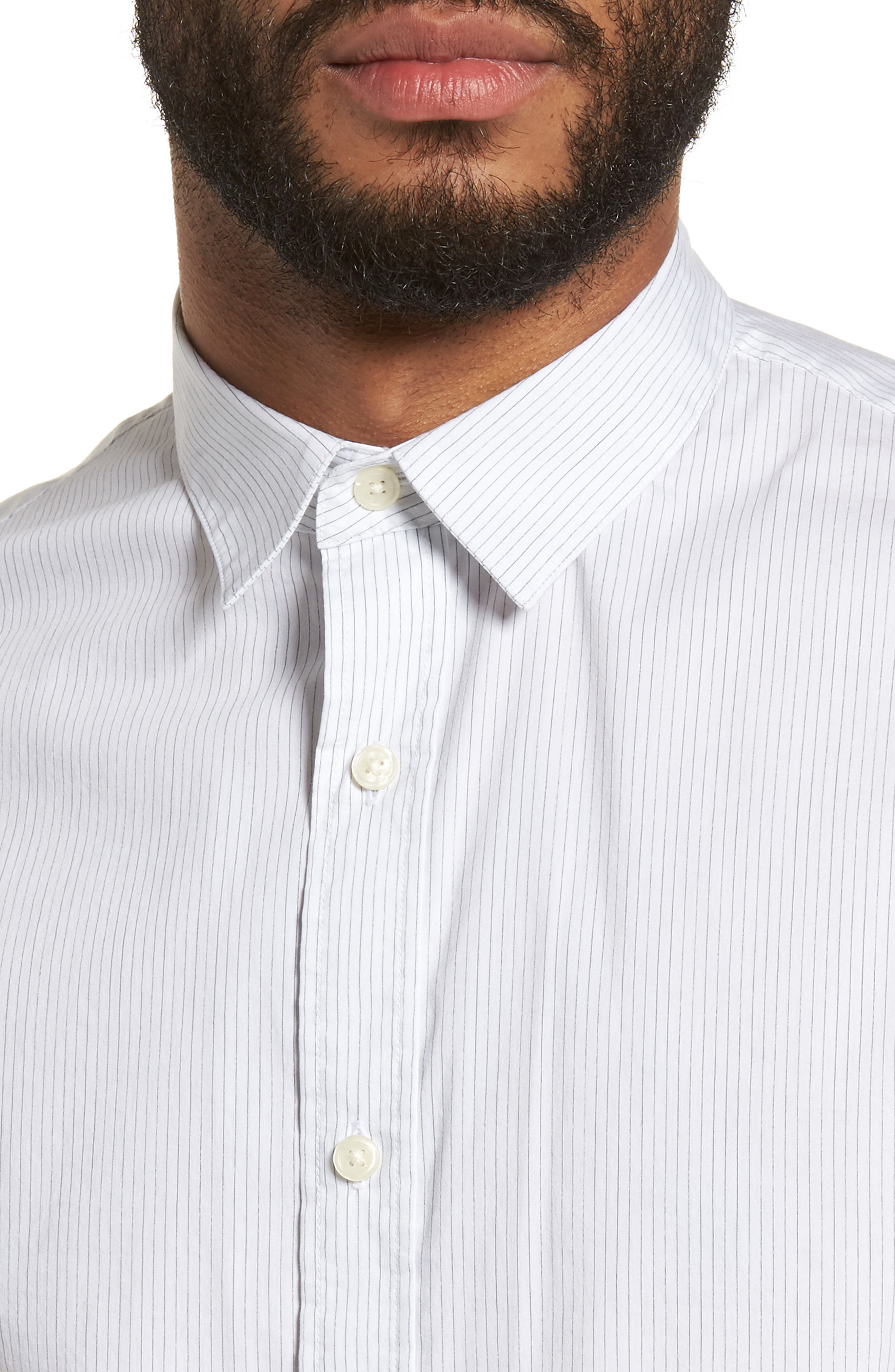 Regular Fit Stretch Stripe Sport Shirt,                             Alternate thumbnail 7, color,