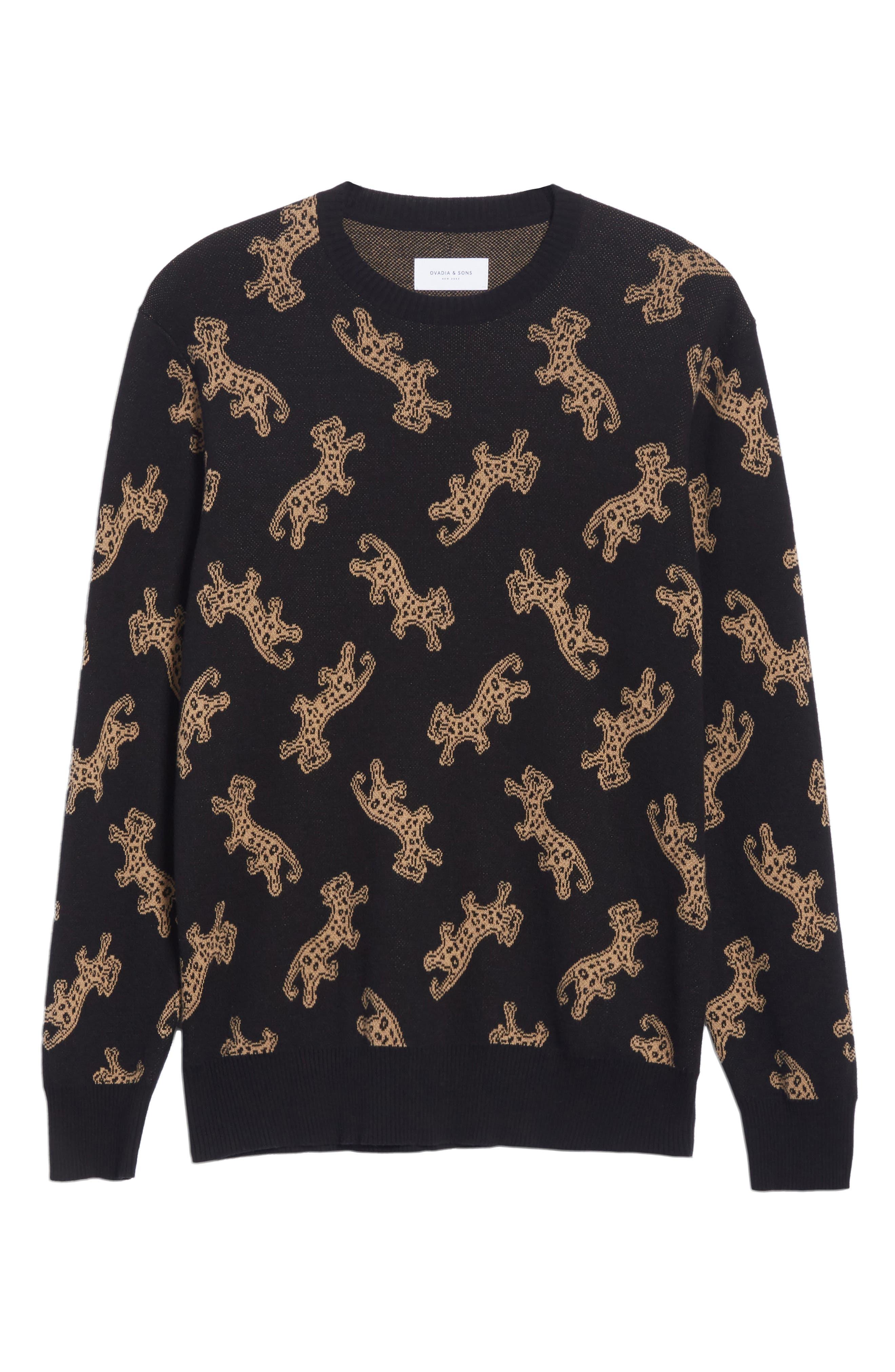 Leopard Jacquard Sweater,                             Alternate thumbnail 6, color,                             BLACK