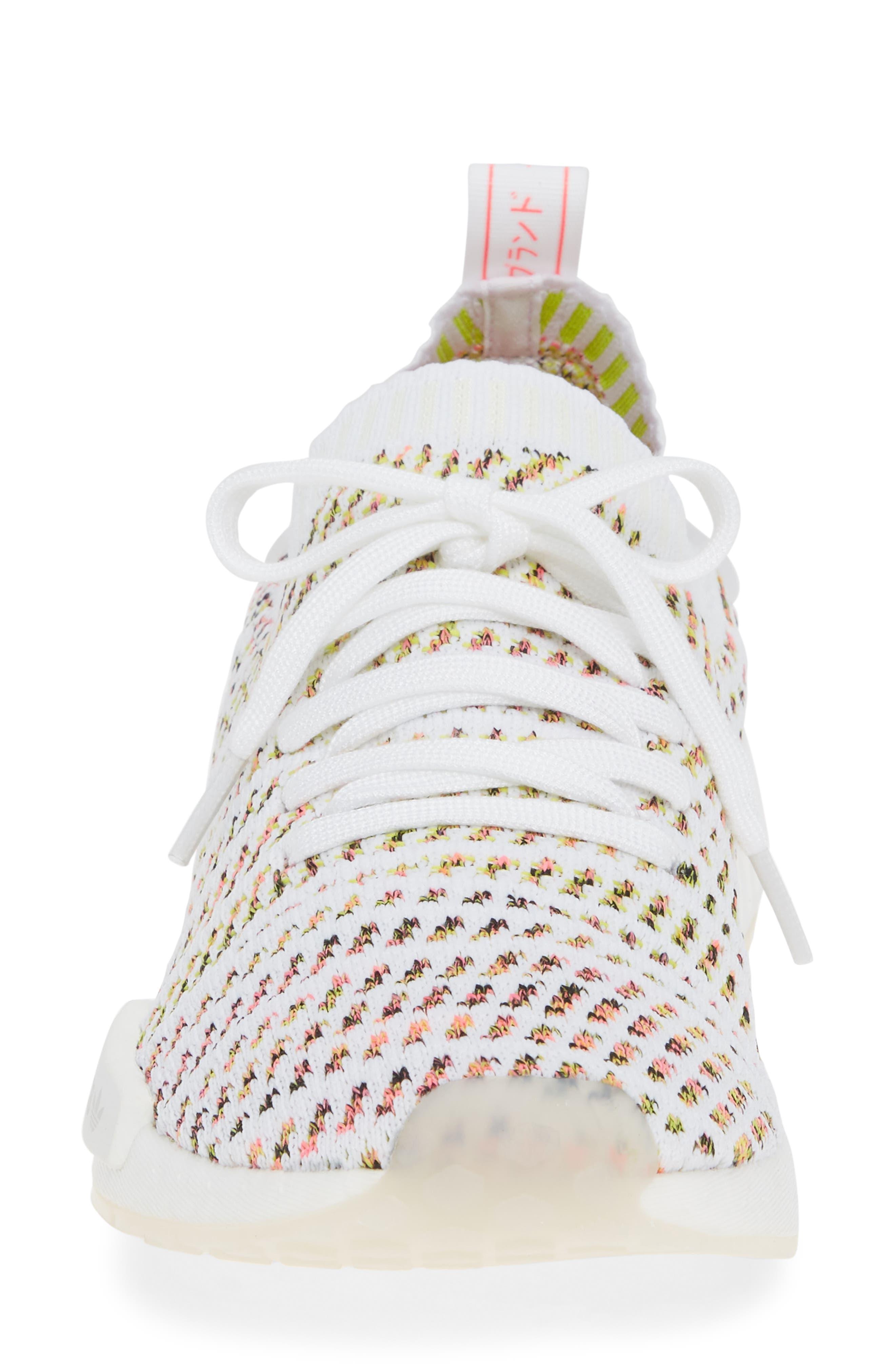 NMD R1 STLT Primeknit Sneaker,                             Alternate thumbnail 4, color,                             WHITE/ YELLOW/ SOLAR PINK