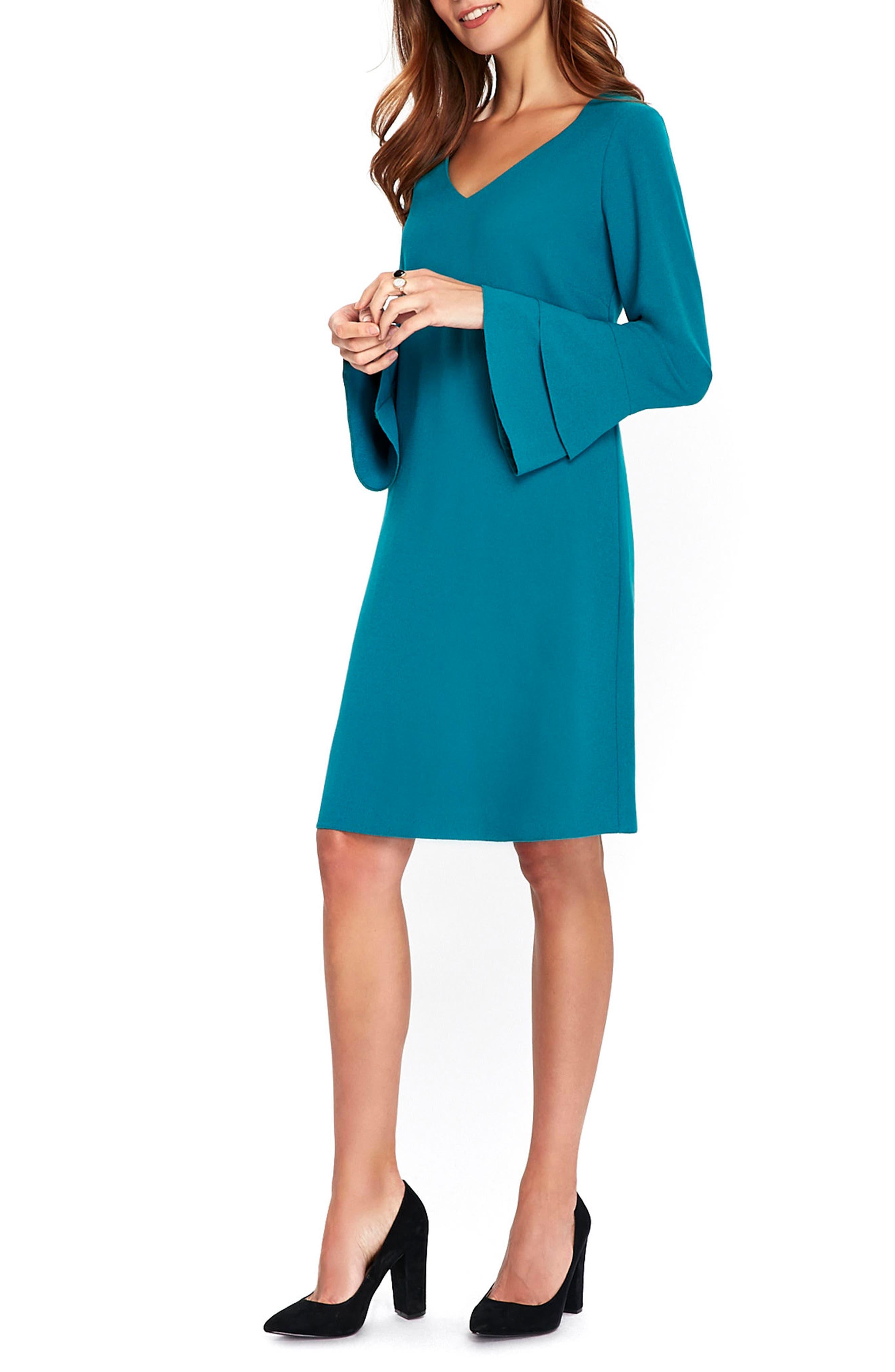 Bell Sleeve Shift Dress,                             Alternate thumbnail 3, color,                             440
