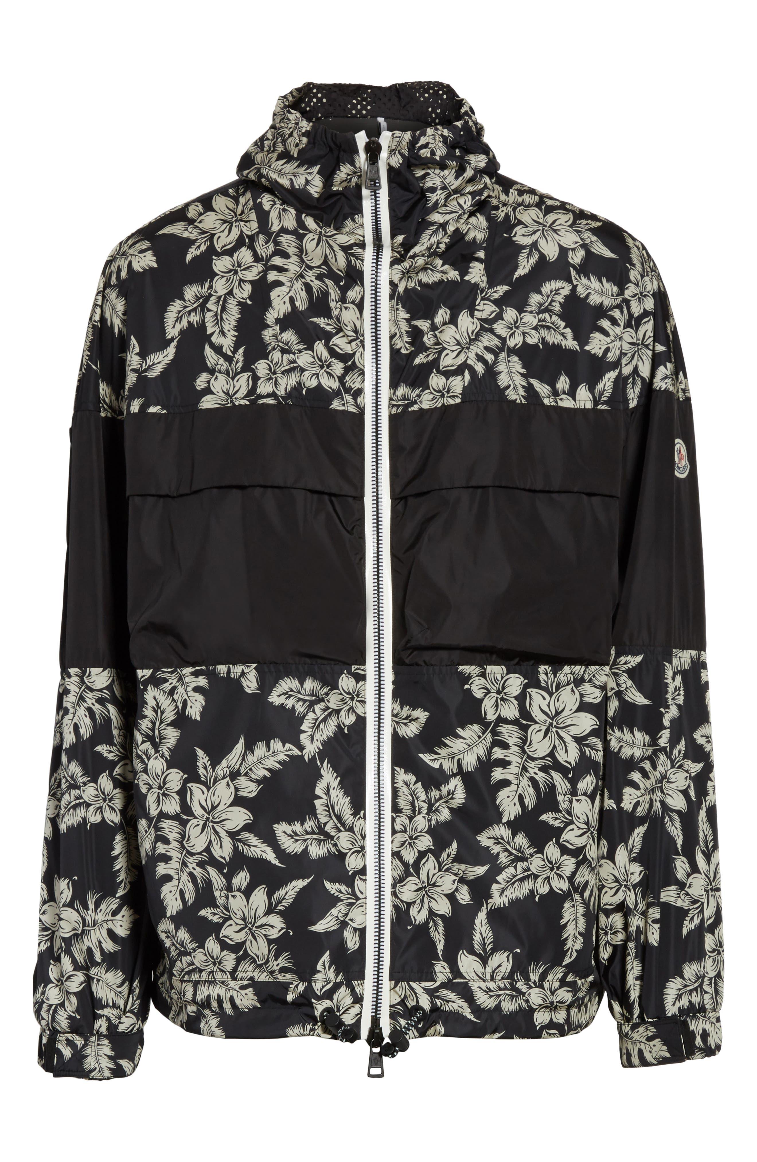 Thiou Floral Print Jacket,                             Alternate thumbnail 5, color,                             BLACK