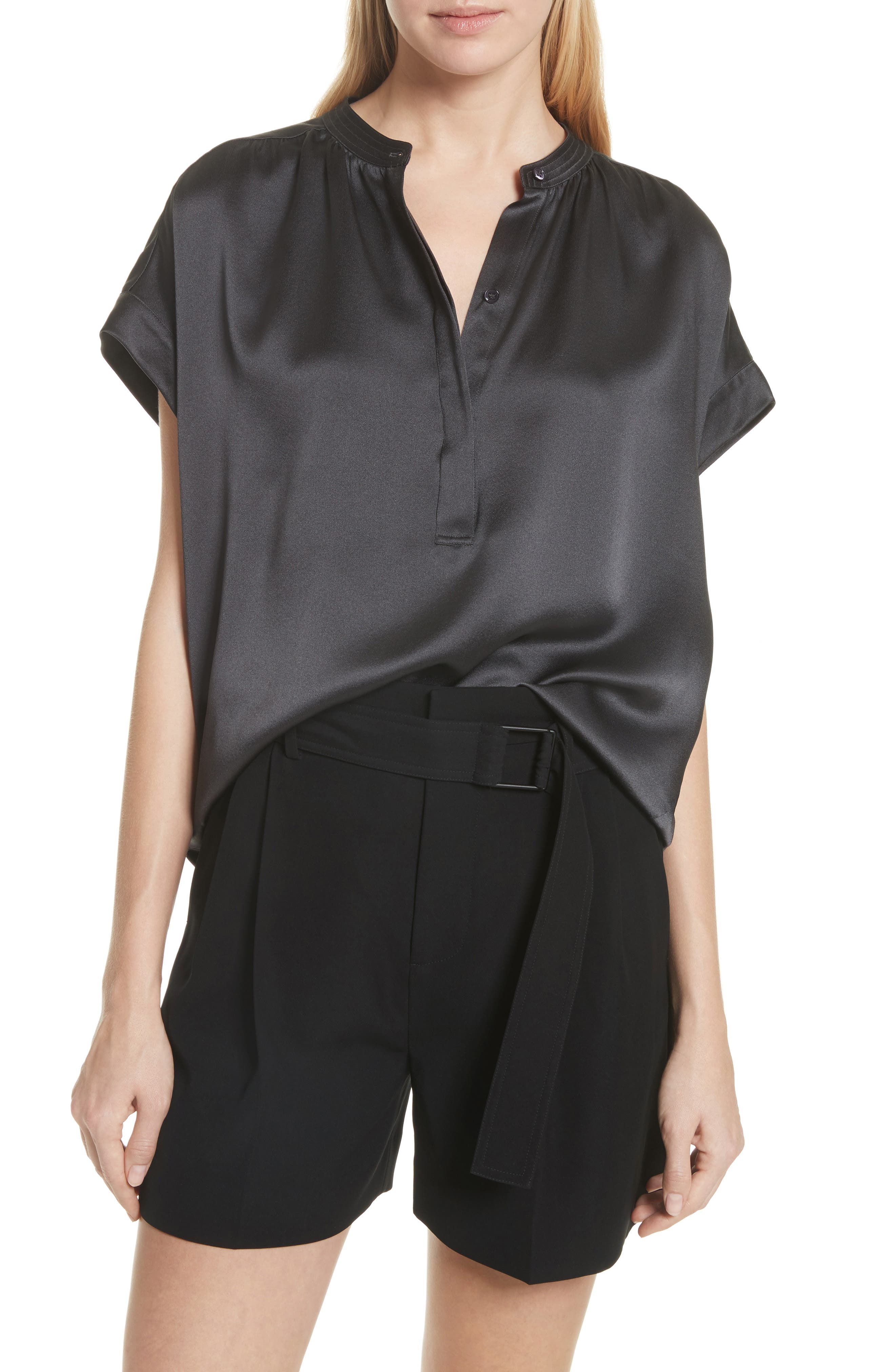 Shirred Neck Silk Top,                         Main,                         color,