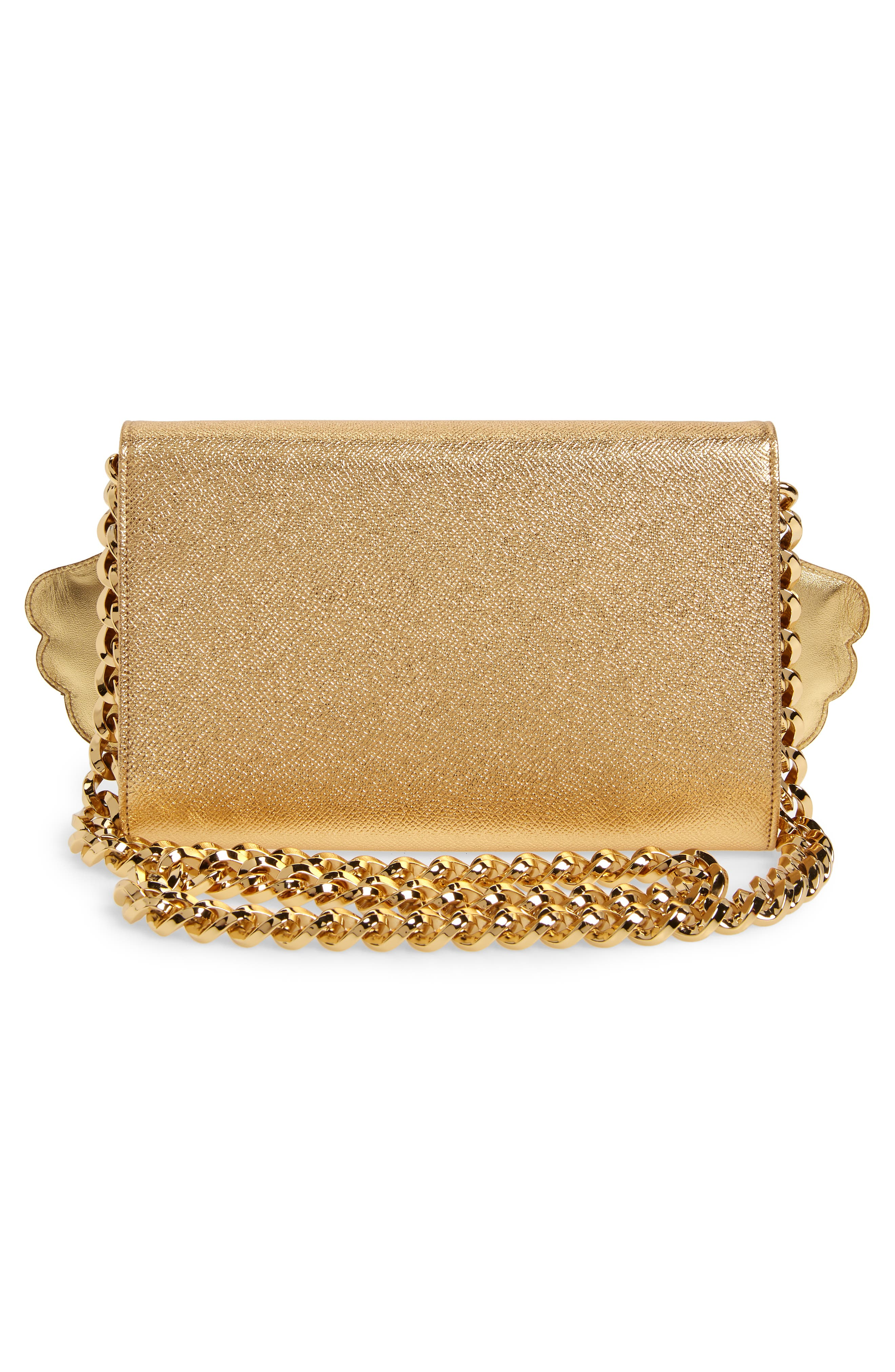 WOC Angel Patch Leather Clutch,                             Alternate thumbnail 3, color,                             GOLD