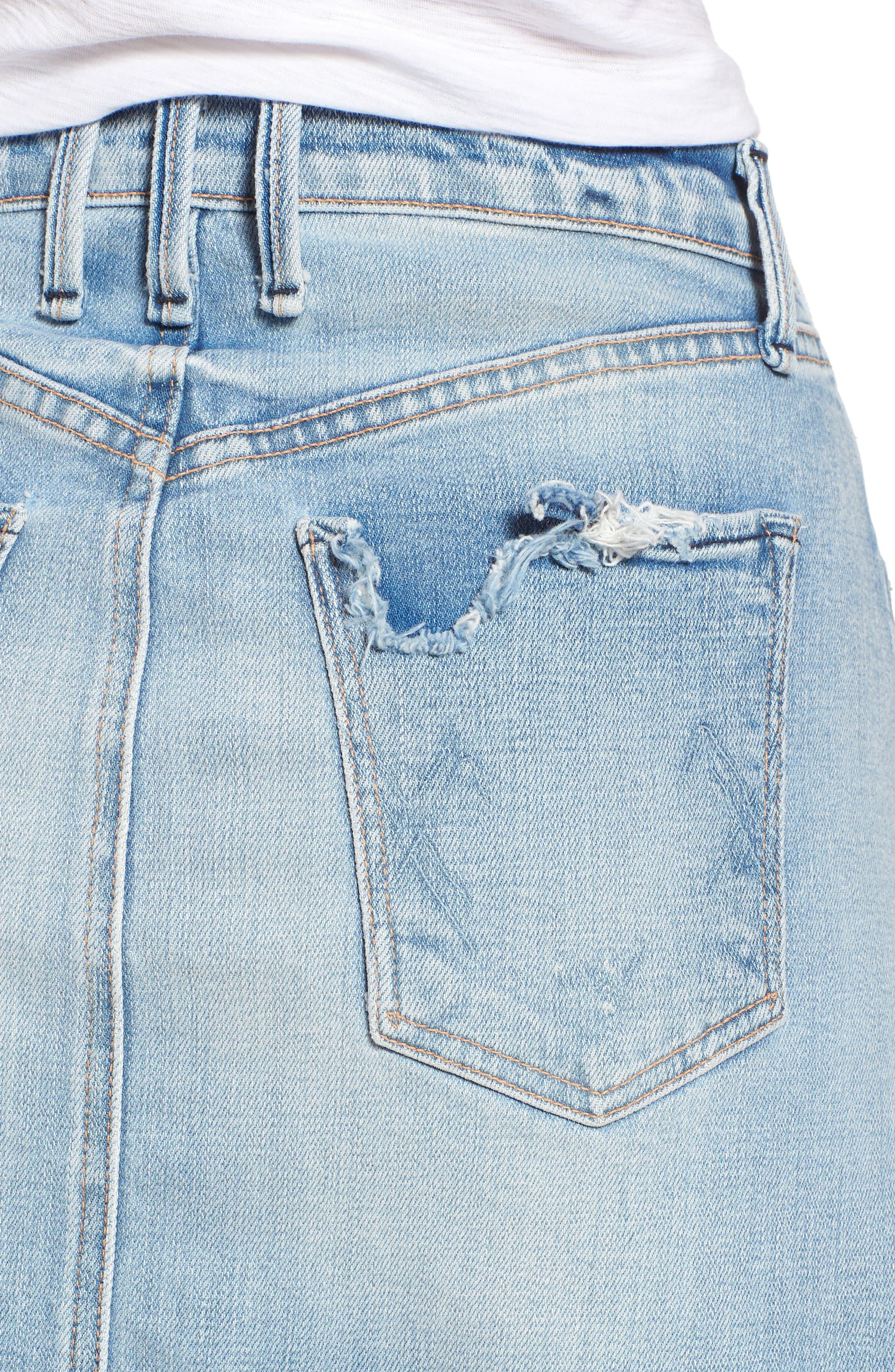 Izabel Angled Hem Denim Skirt,                             Alternate thumbnail 4, color,                             DONT FADE AWAY