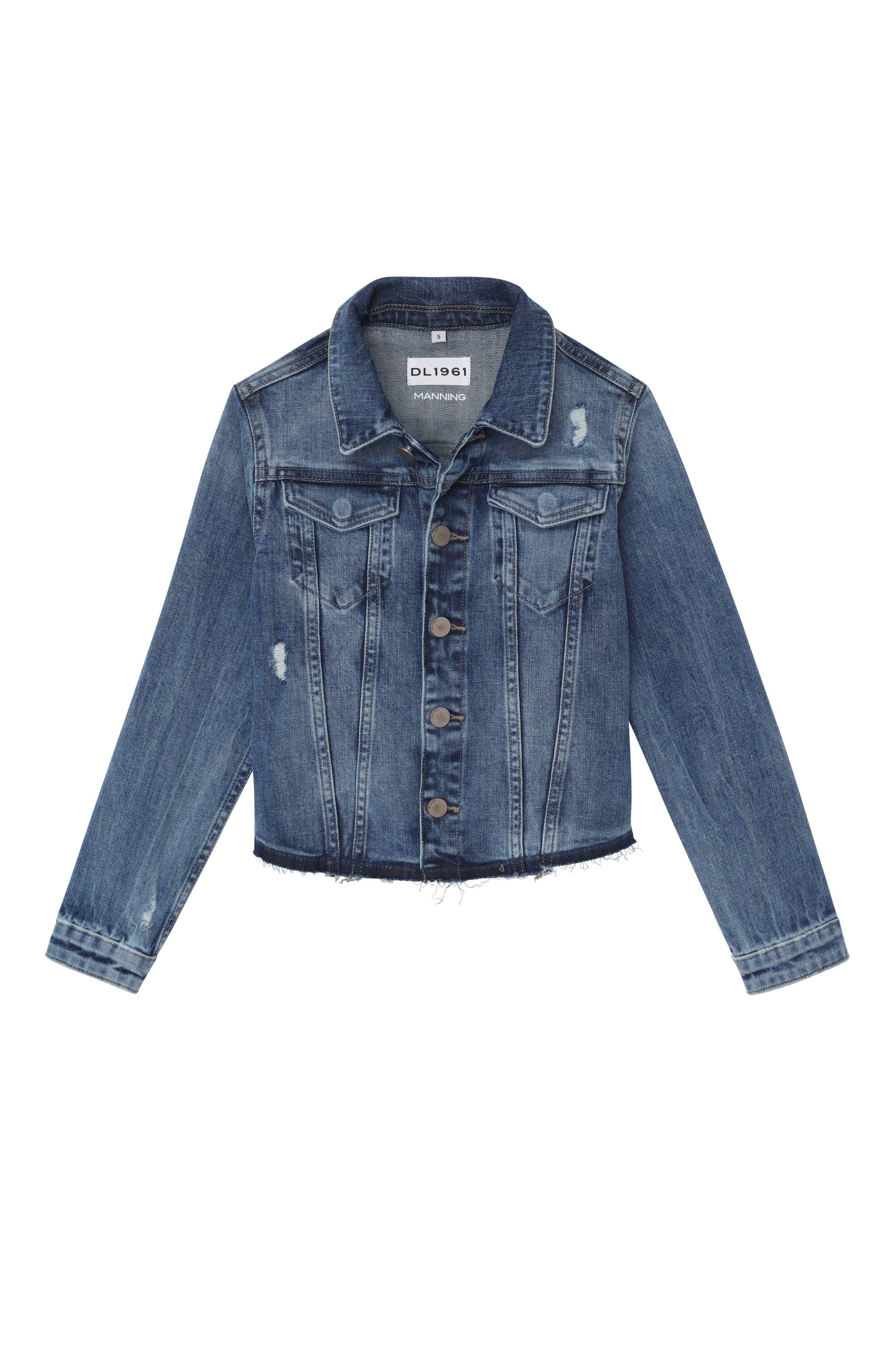 Distressed Denim Jacket,                         Main,                         color, CLOUD