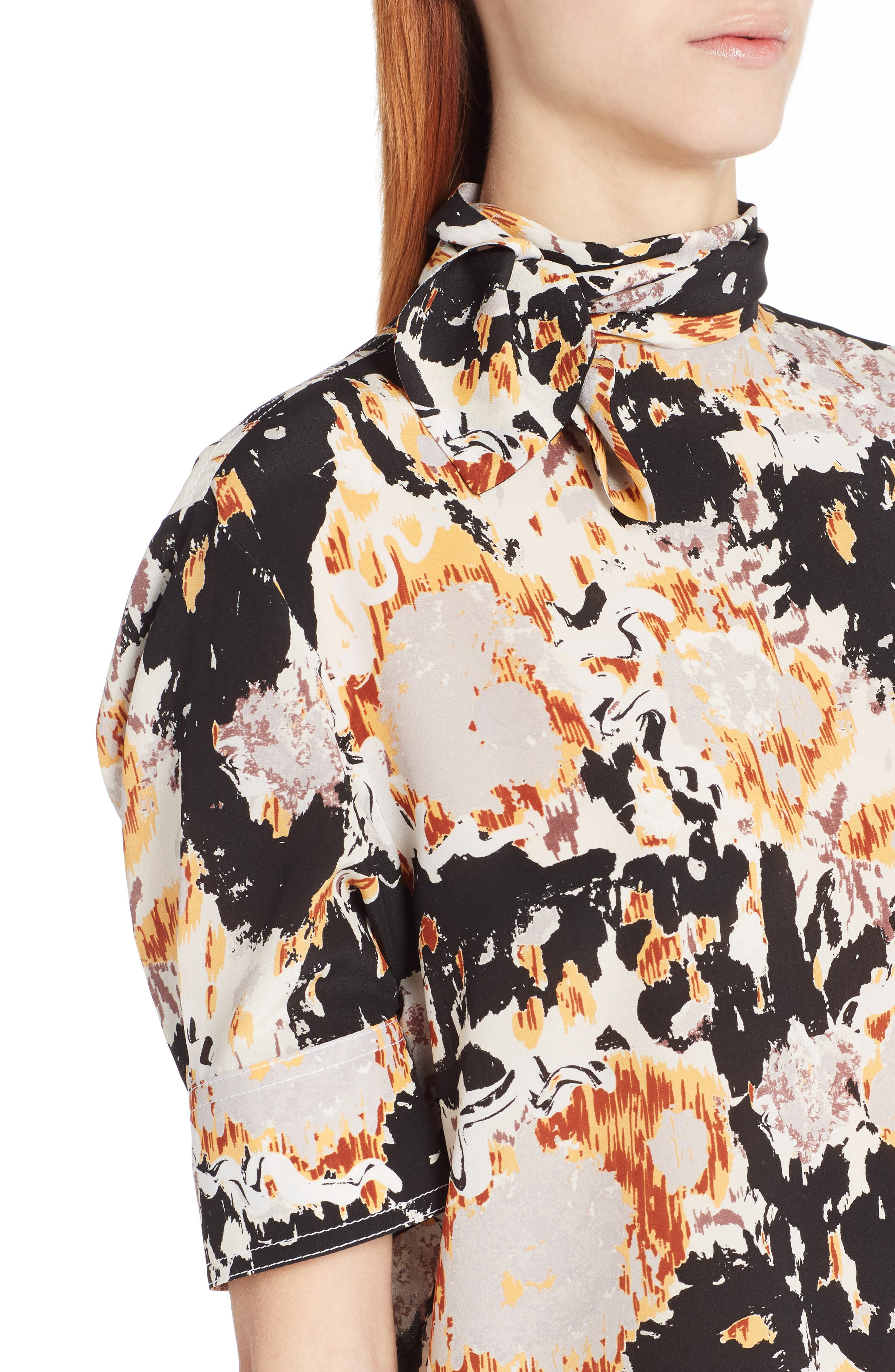 Magma Print Silk Crepe Blouse,                             Alternate thumbnail 4, color,                             800