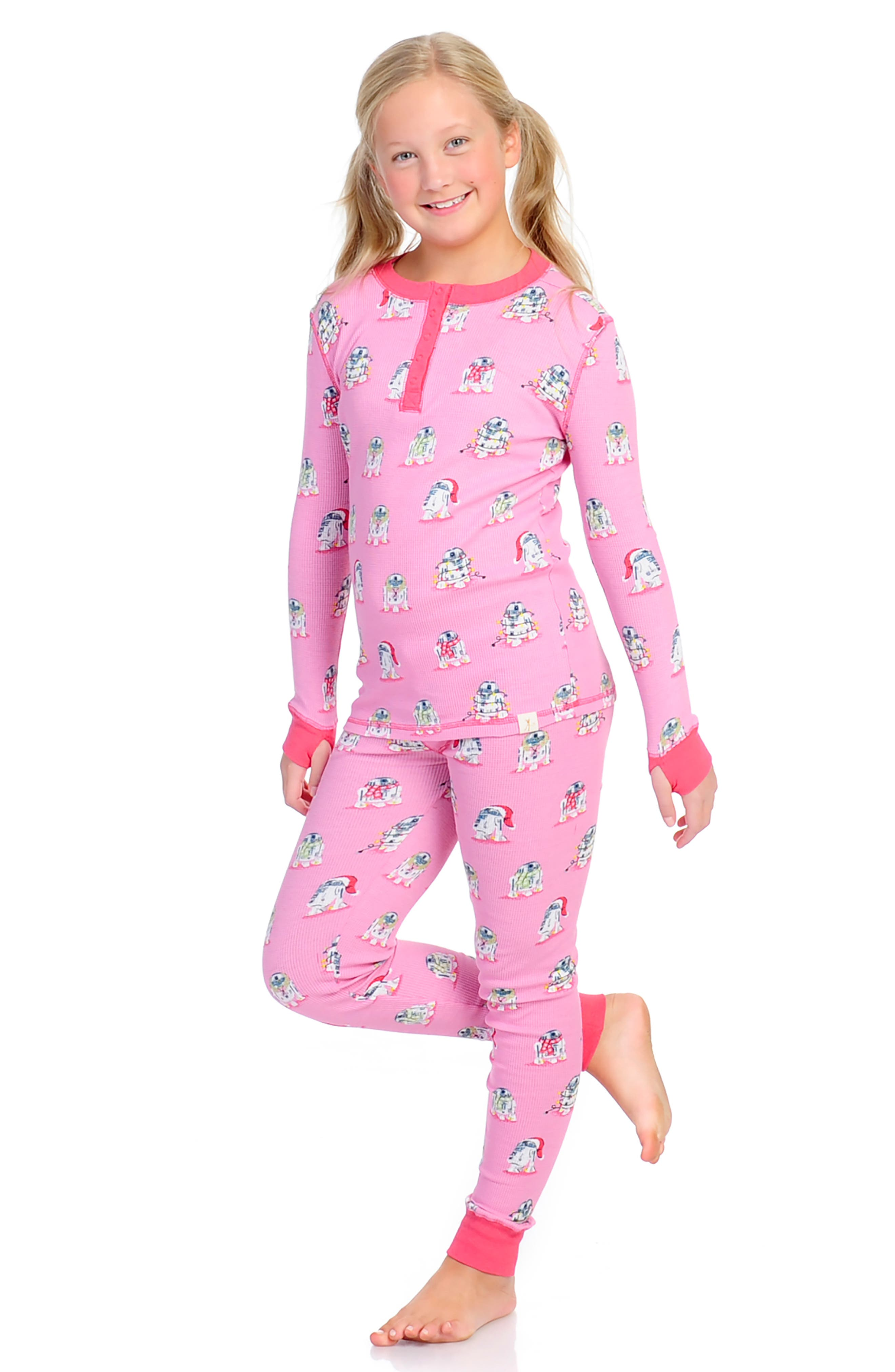 Star Wars<sup>™</sup> Slumber Fitted Two-Piece Thermal Pajamas,                             Alternate thumbnail 3, color,                             PINK STAR WARS