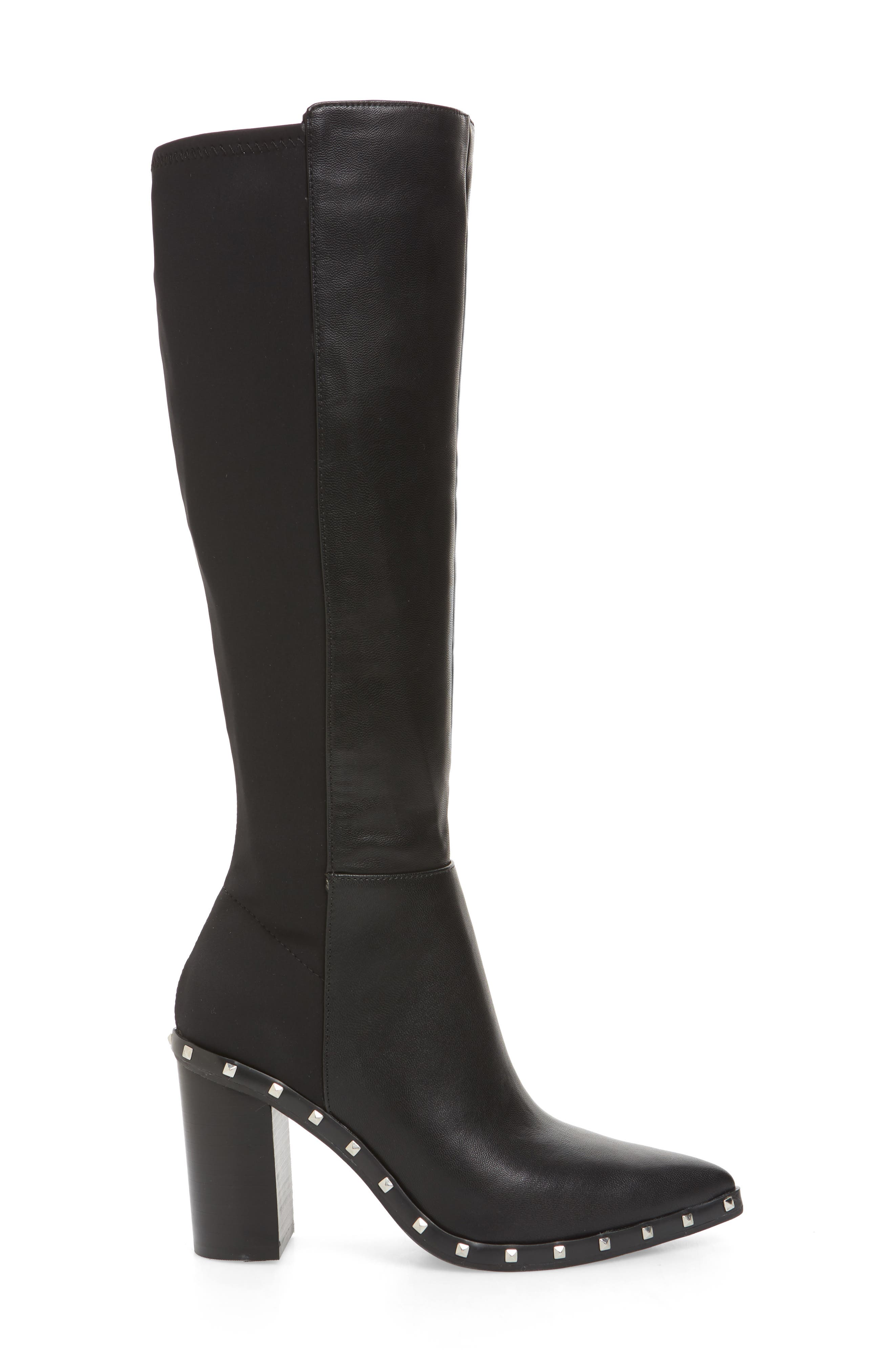 Studded Knee High Stretch Boot,                             Alternate thumbnail 3, color,                             BLACK FAUX NUBUCK LEATHER