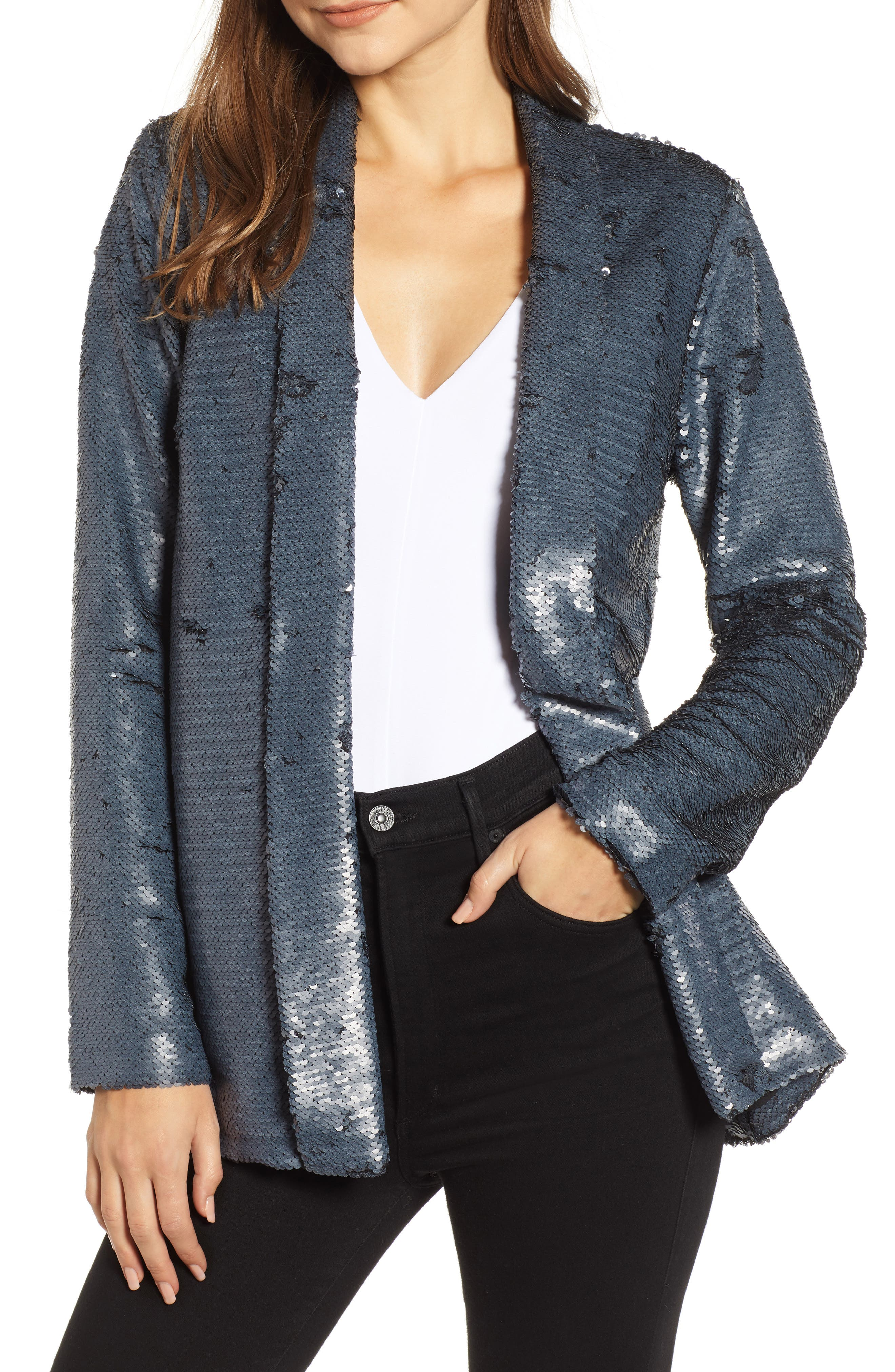 CUPCAKES AND CASHMERE Anastasia Sequined Open-Front Jacket in Charcoal