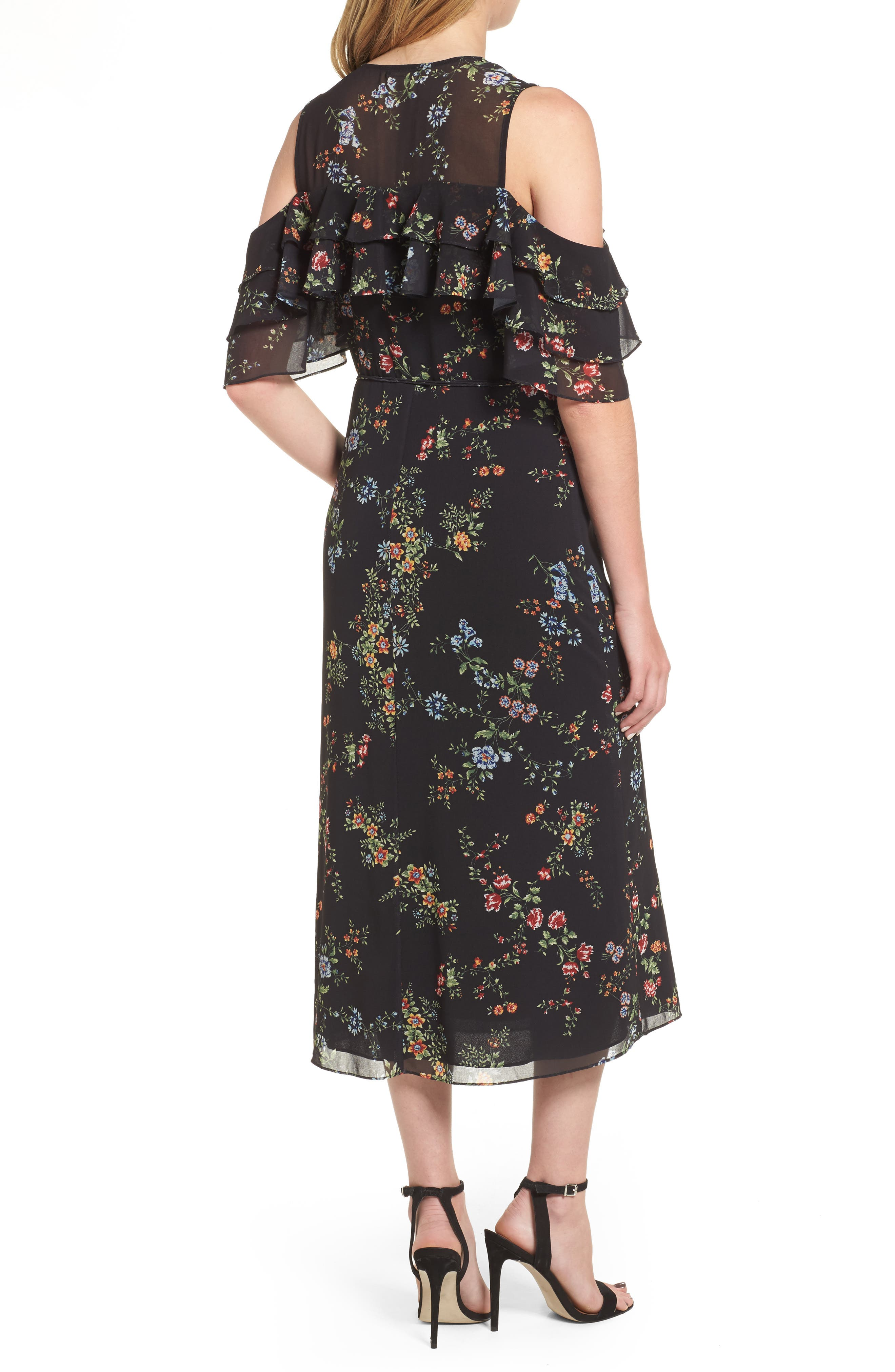 Daisy Wrap Midi Dress,                             Alternate thumbnail 2, color,                             001