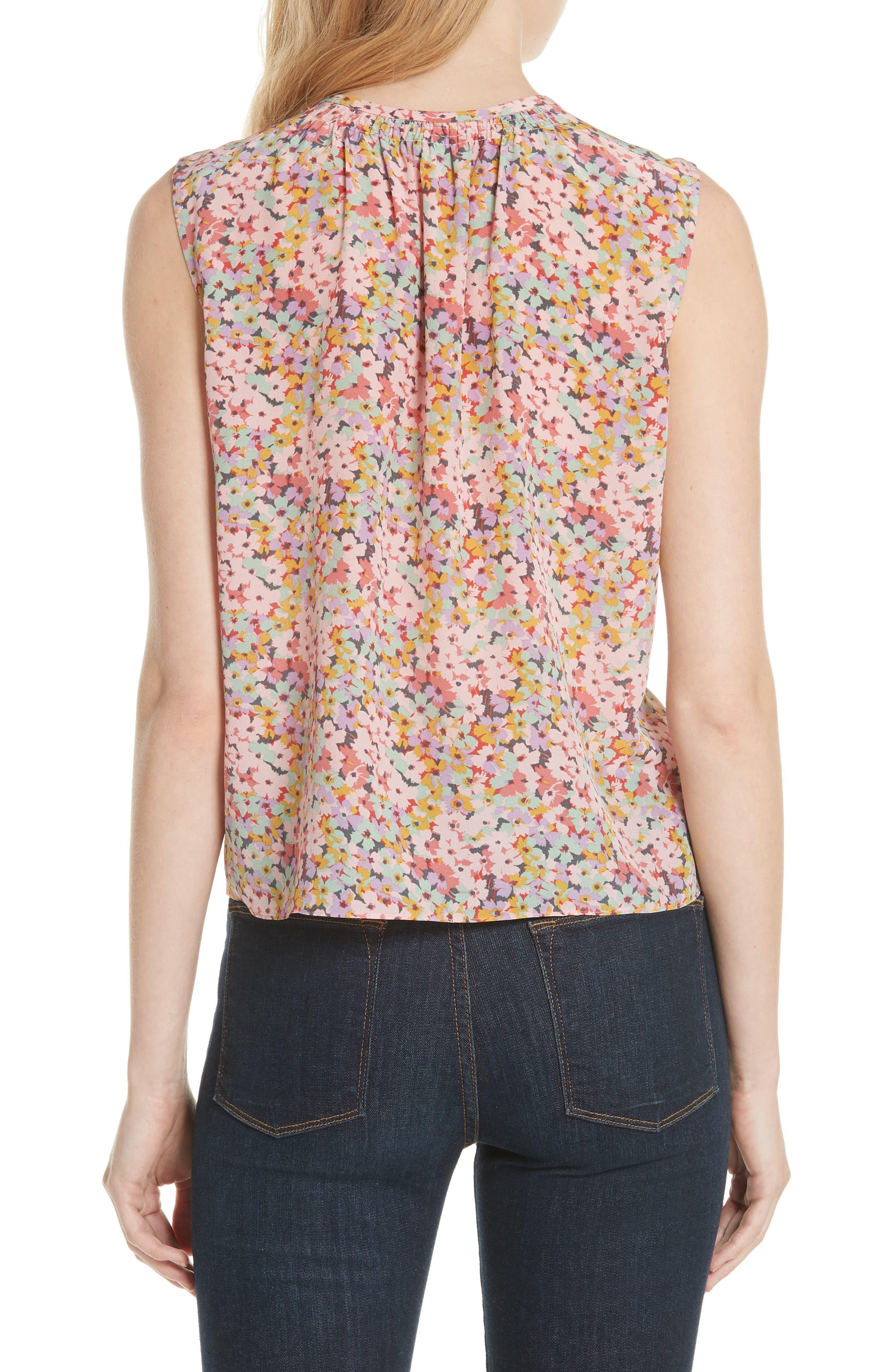 Margo Floral Sleeveless Silk Top,                             Alternate thumbnail 2, color,                             686