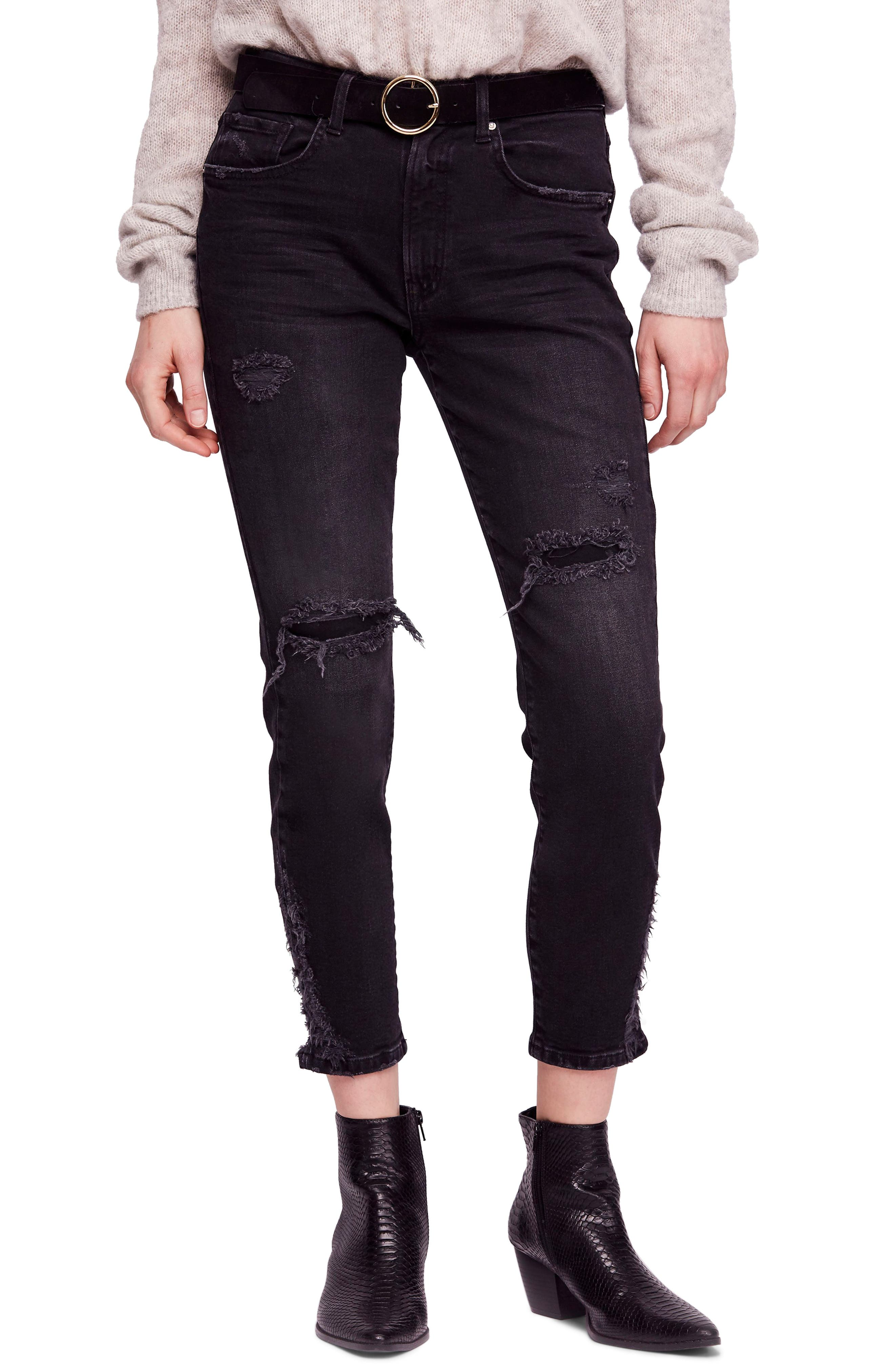 About a Girl Ripped High Waist Crop Skinny Jeans,                         Main,                         color, BLACK