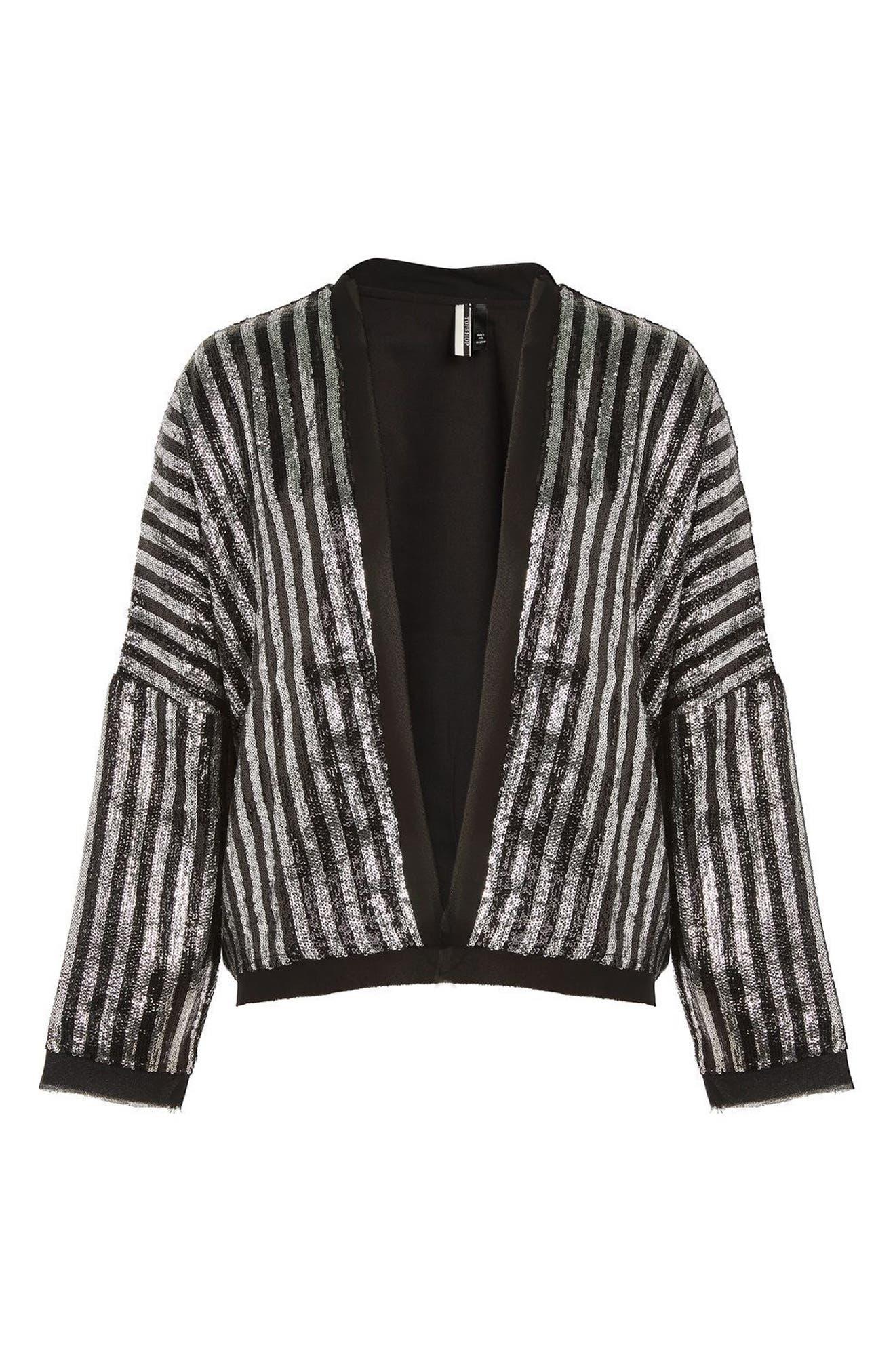 Batwing Sequin Stripe Jacket,                             Alternate thumbnail 3, color,