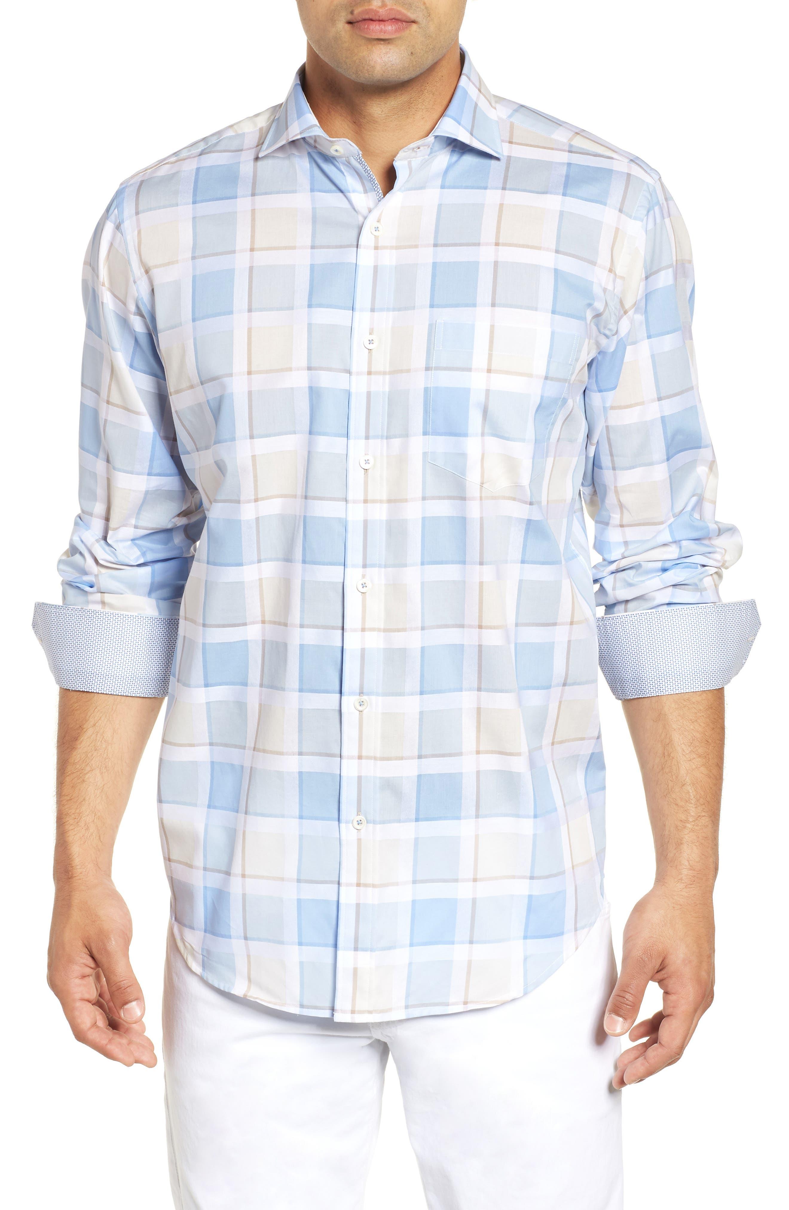 Classic Fit Plaid Sport Shirt,                         Main,                         color, SKY