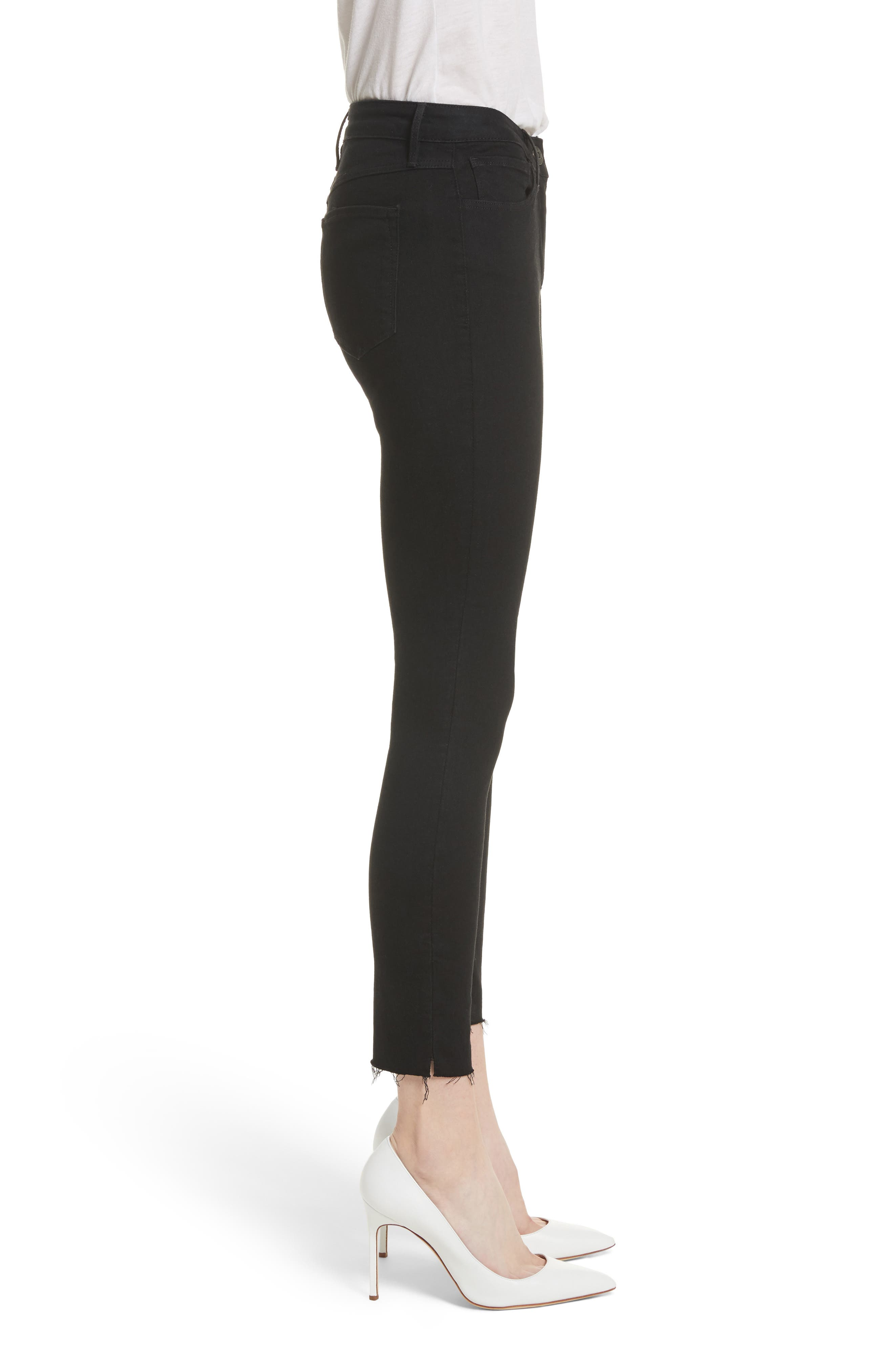 W2 Crop Skinny Jeans,                             Alternate thumbnail 3, color,                             BLACK TEAR