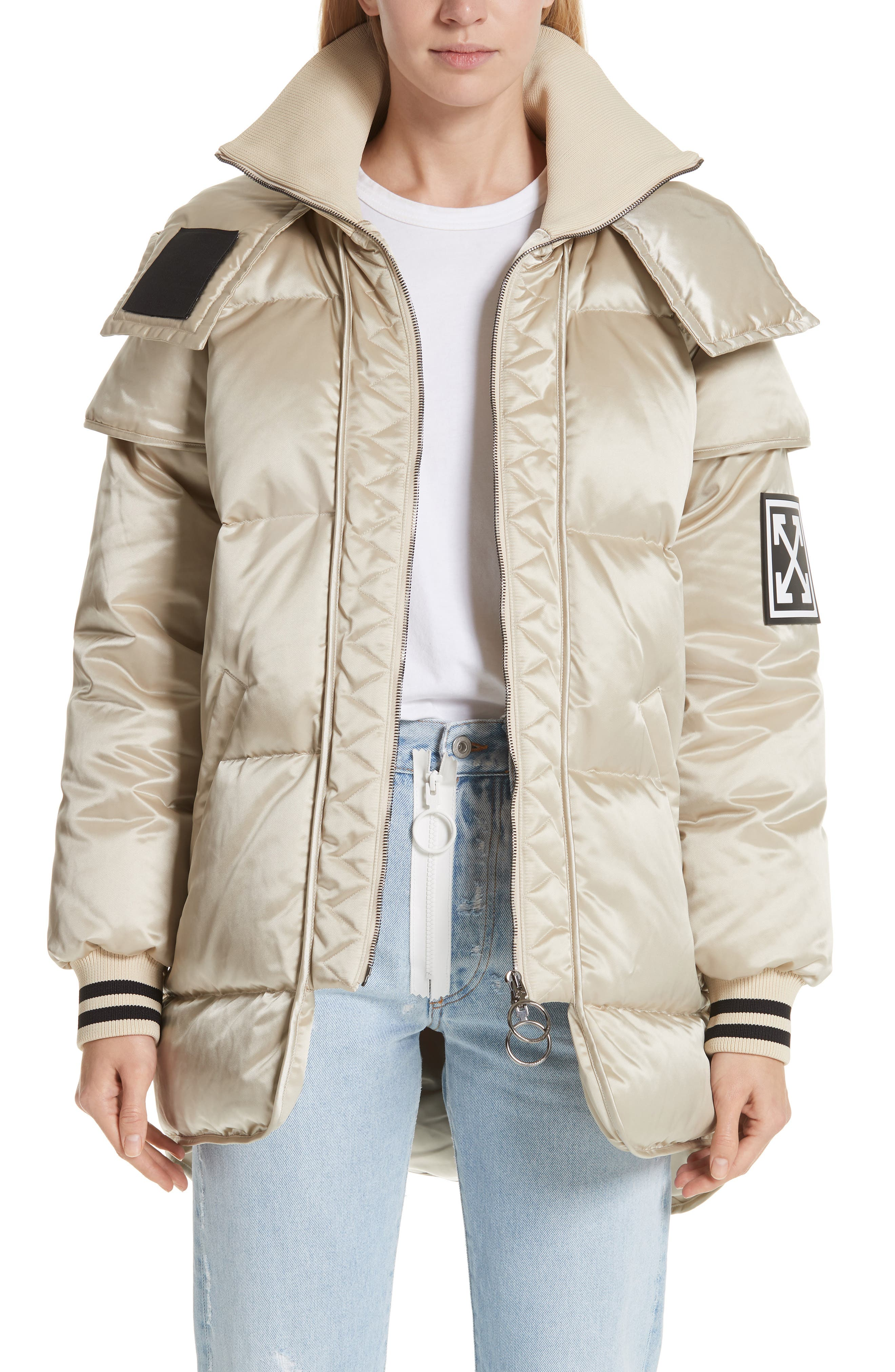 Patch Down Fill Puffer Jacket,                             Main thumbnail 1, color,                             BEIGE BLACK