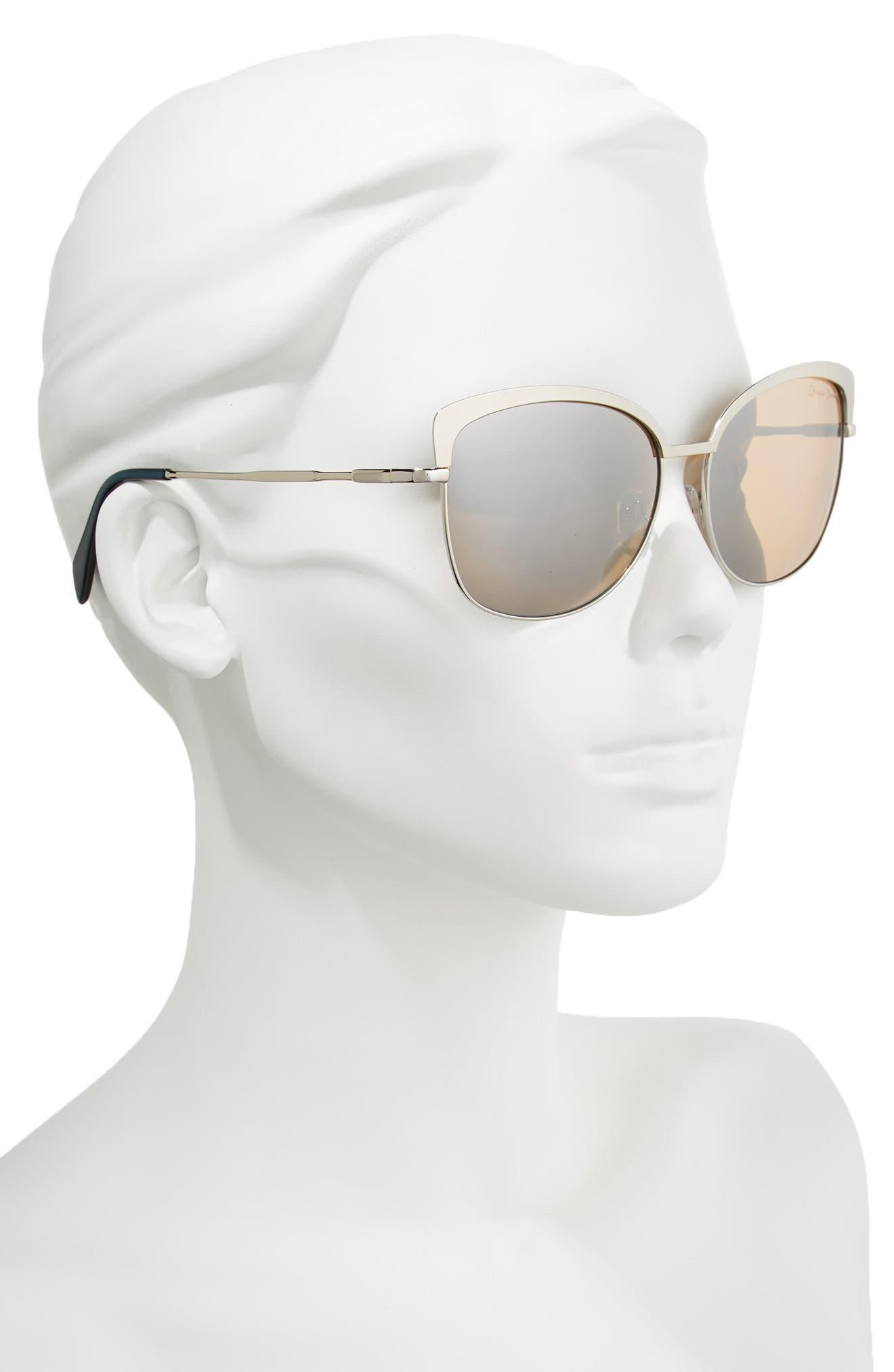 60mm Cat Eye Sunglasses,                             Alternate thumbnail 2, color,                             SHINY GUNMETAL