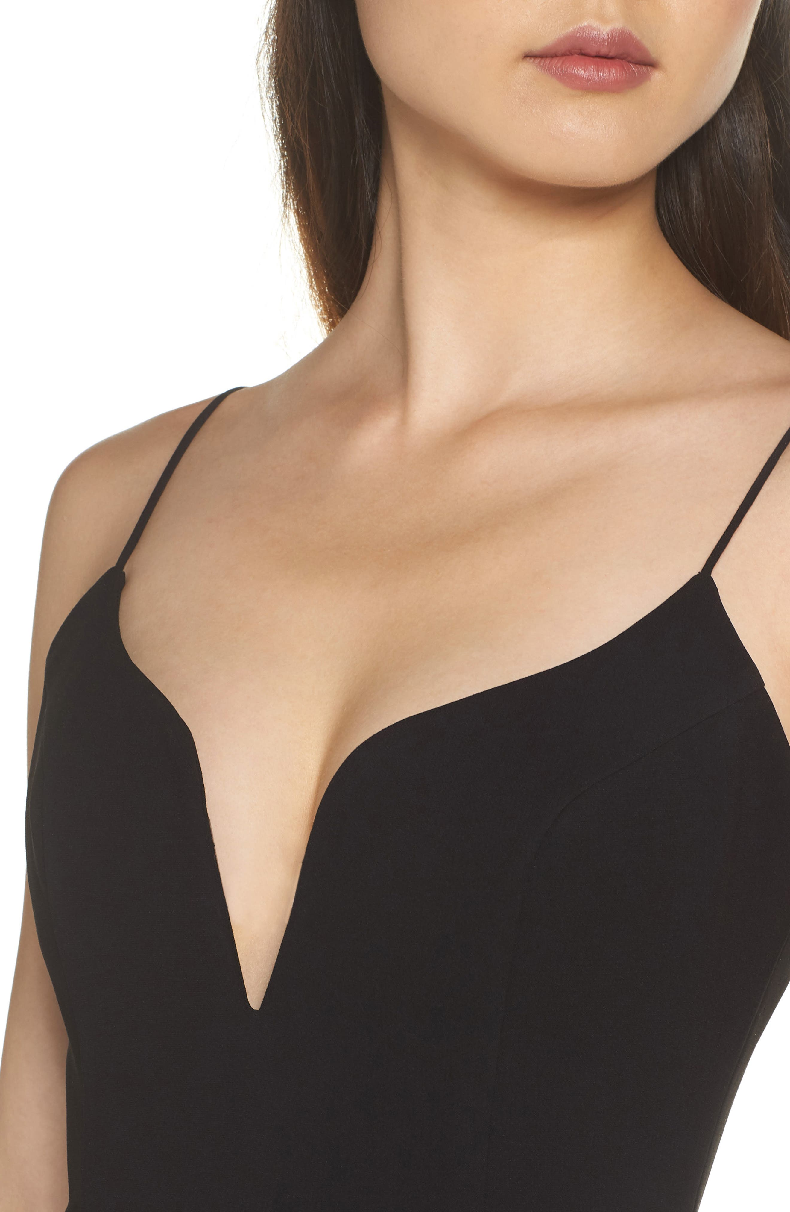 Plunge Sweetheart Gown,                             Alternate thumbnail 4, color,                             BLACK