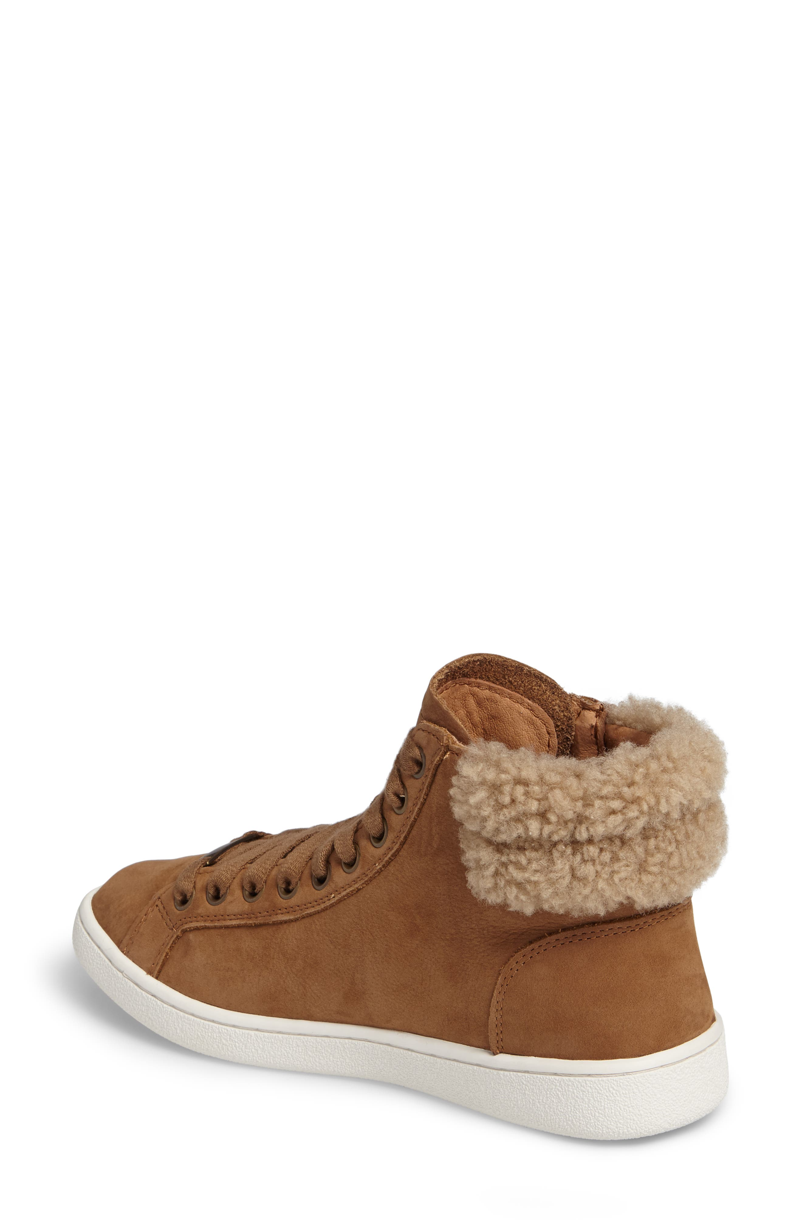 Olive Genuine Shearling Cuff Sneaker,                             Alternate thumbnail 2, color,                             219