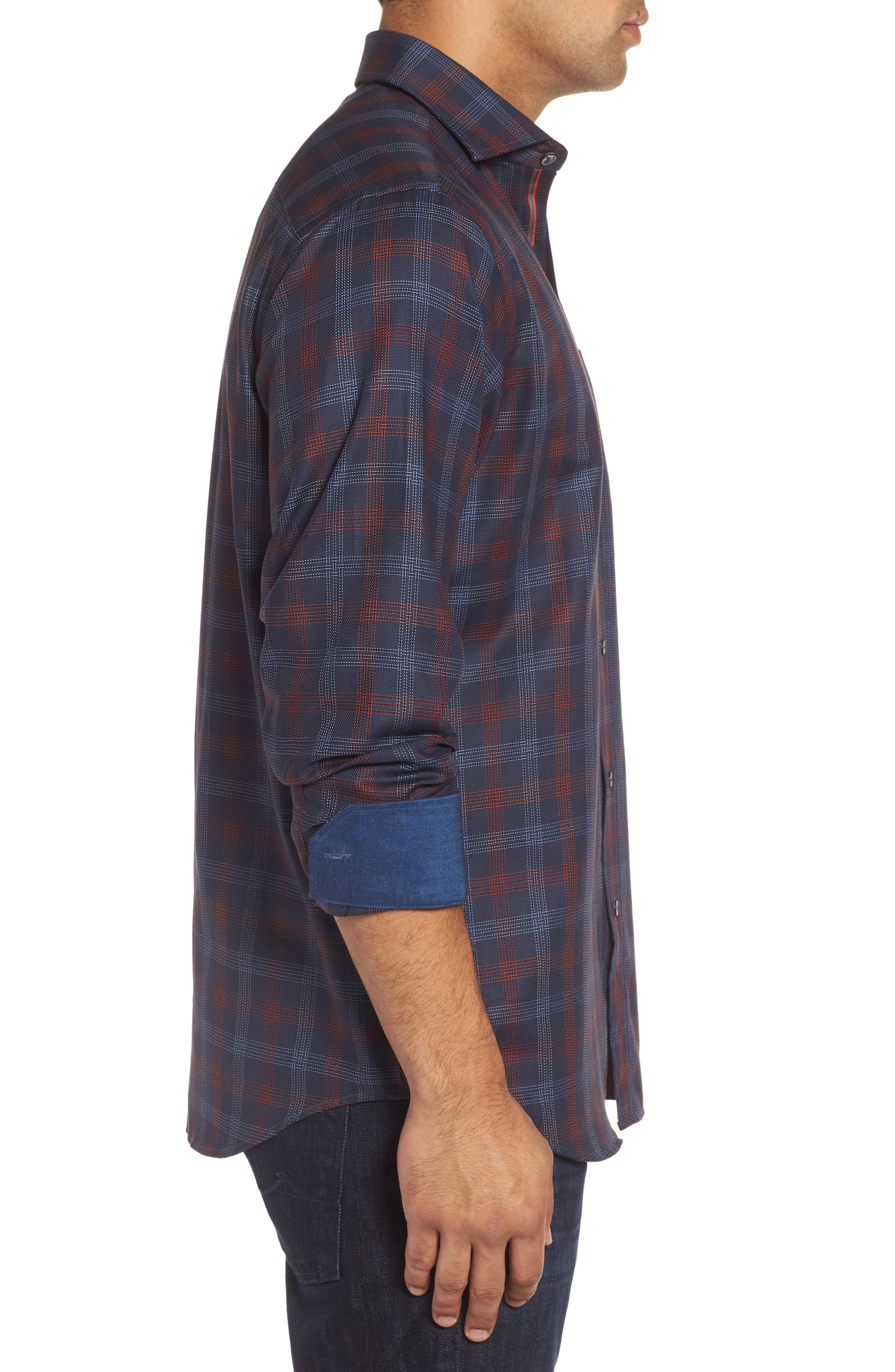 Classic Fit Pinstripe Check Sport Shirt,                             Alternate thumbnail 3, color,