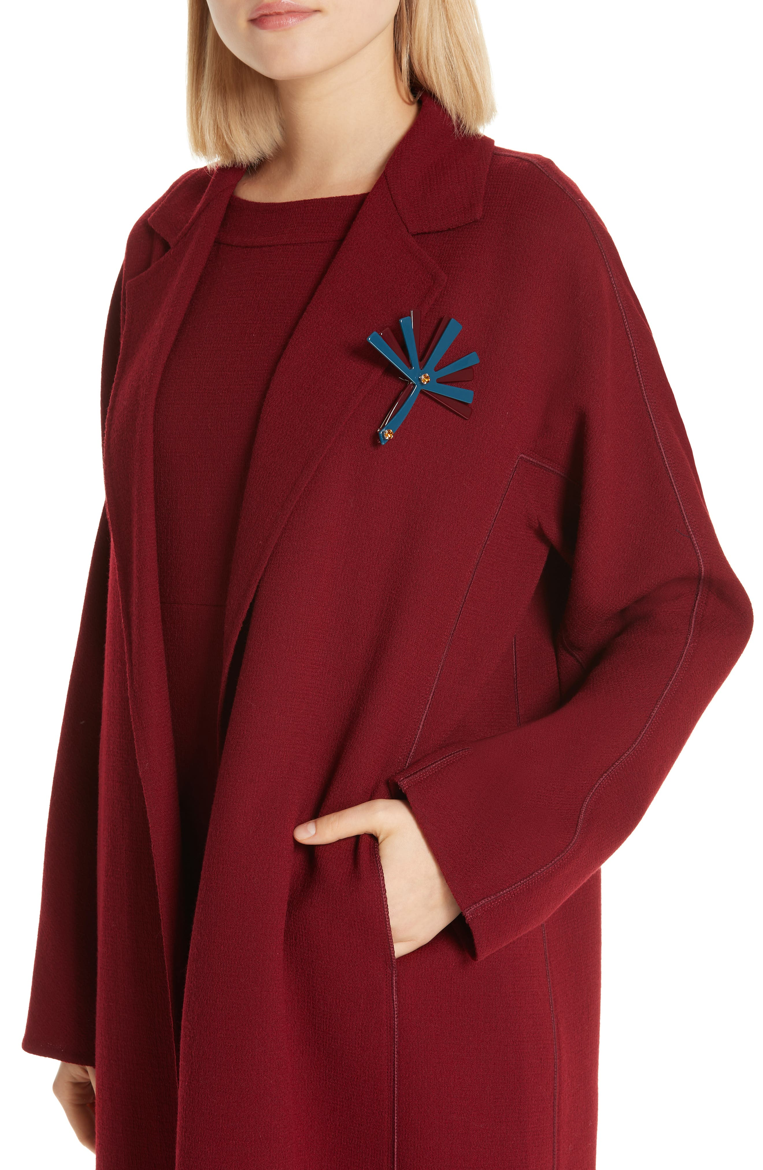Wool Jacket with Pin,                             Alternate thumbnail 4, color,                             600