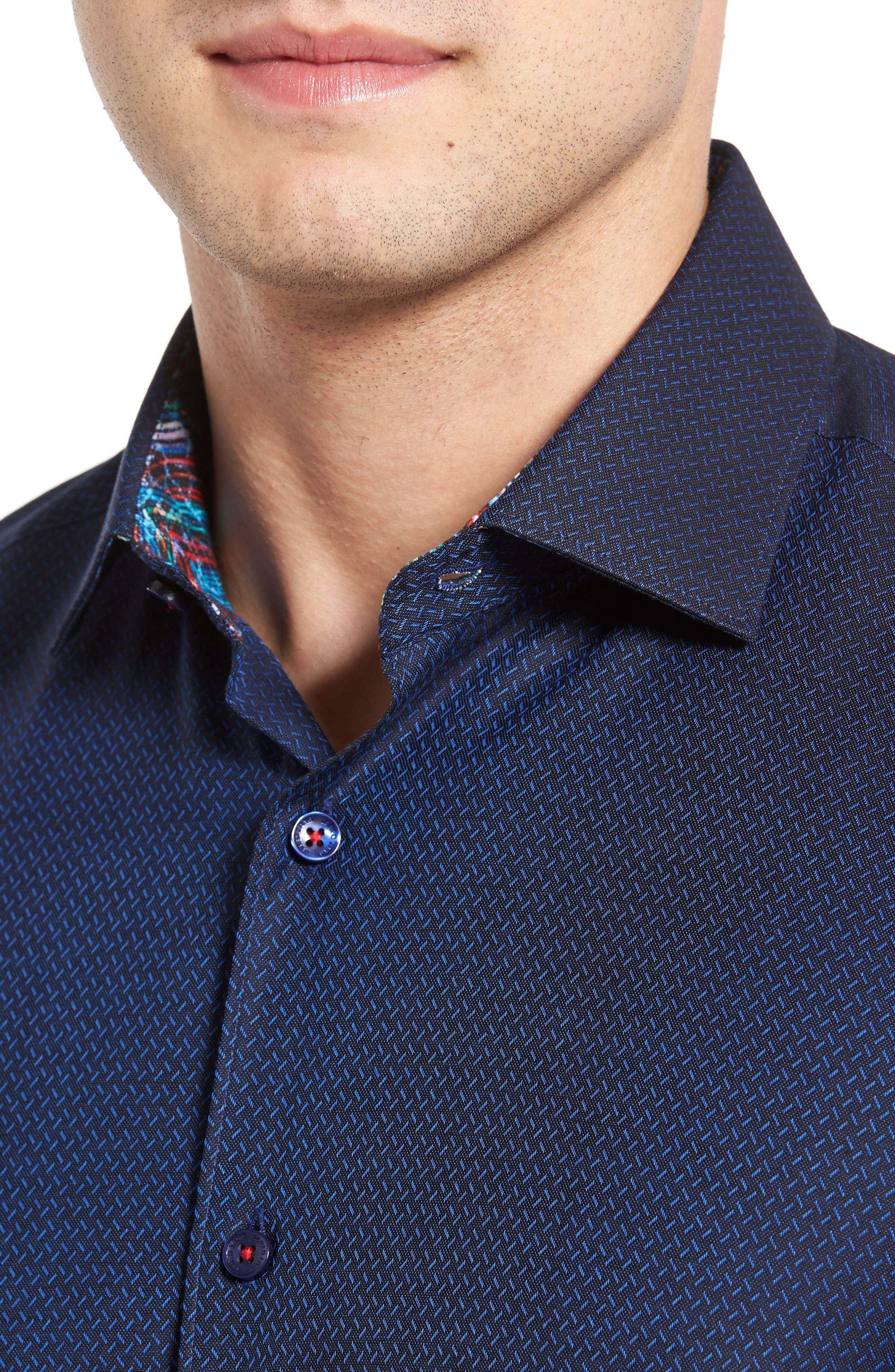 Trim Fit Print Sport Shirt,                             Alternate thumbnail 4, color,                             410