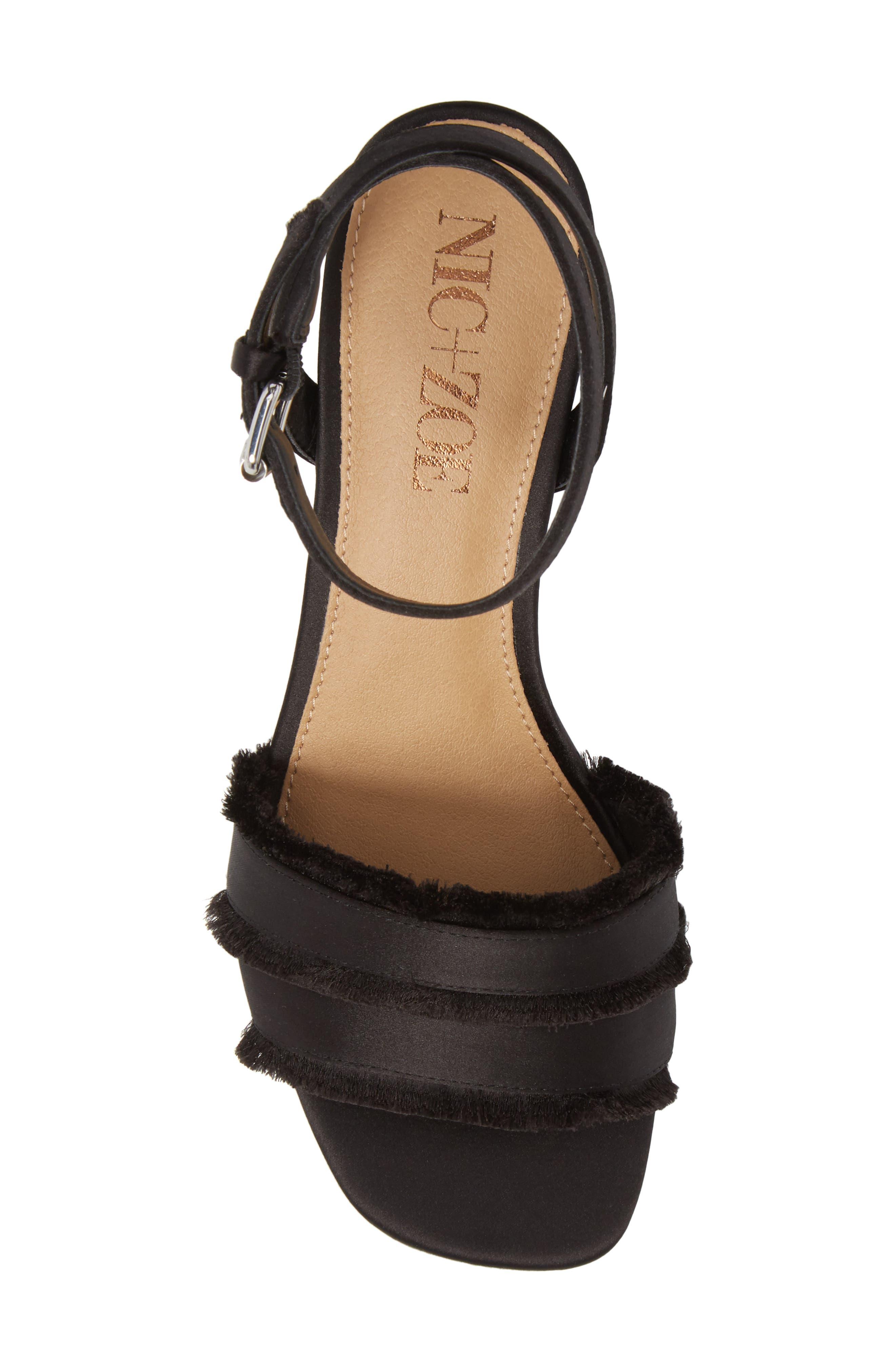Zaria Fringed Sandal,                             Alternate thumbnail 5, color,                             BLACK SATIN
