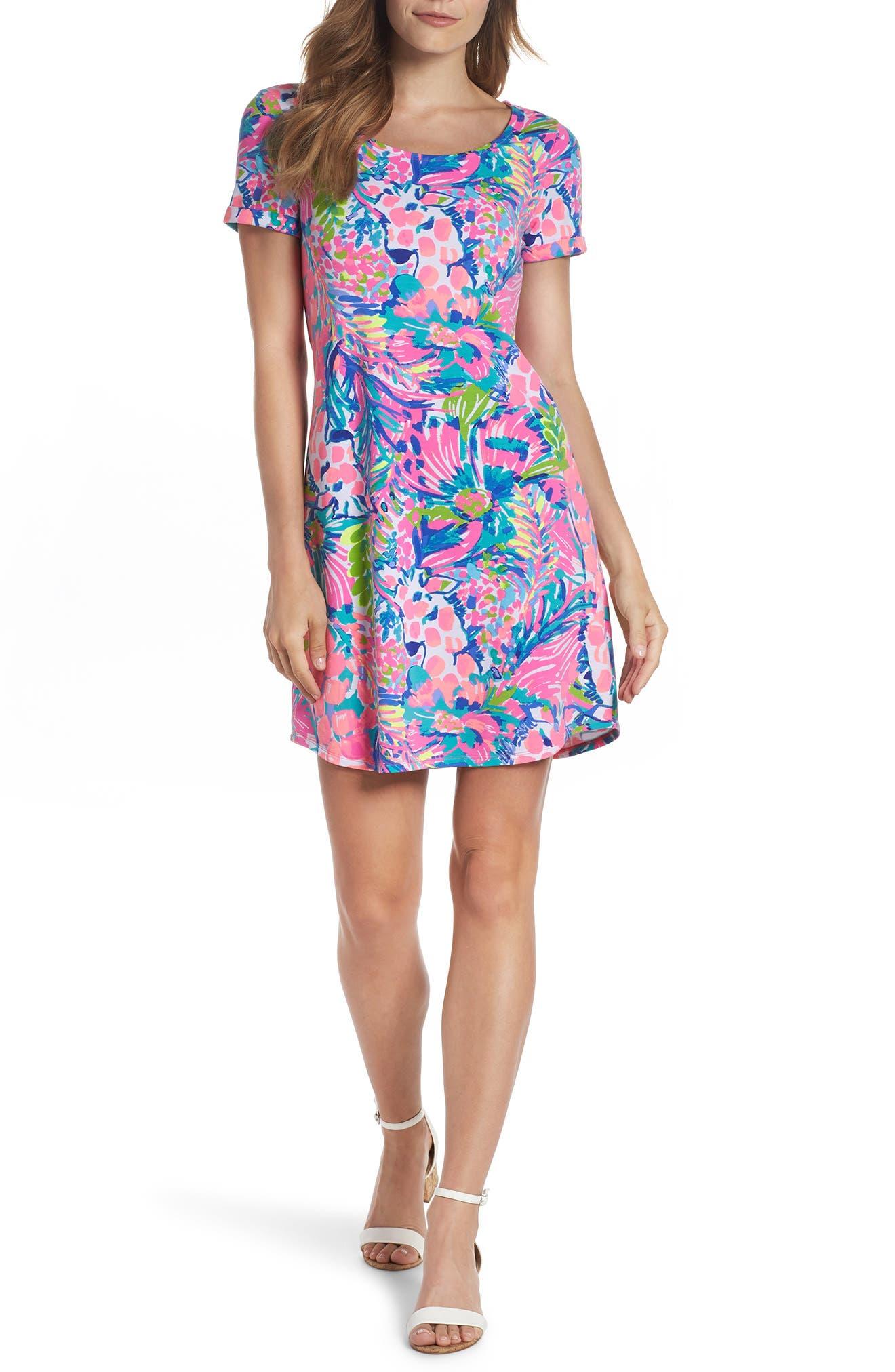 Tammy UPF 50+ Shift Dress,                             Alternate thumbnail 5, color,                             MULTI GUMBO LIMBO