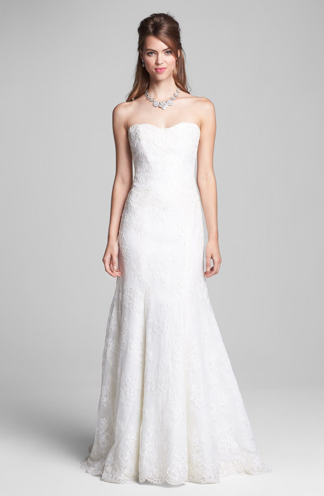 Embroidered Lace Trumpet Dress,                             Alternate thumbnail 4, color,                             900