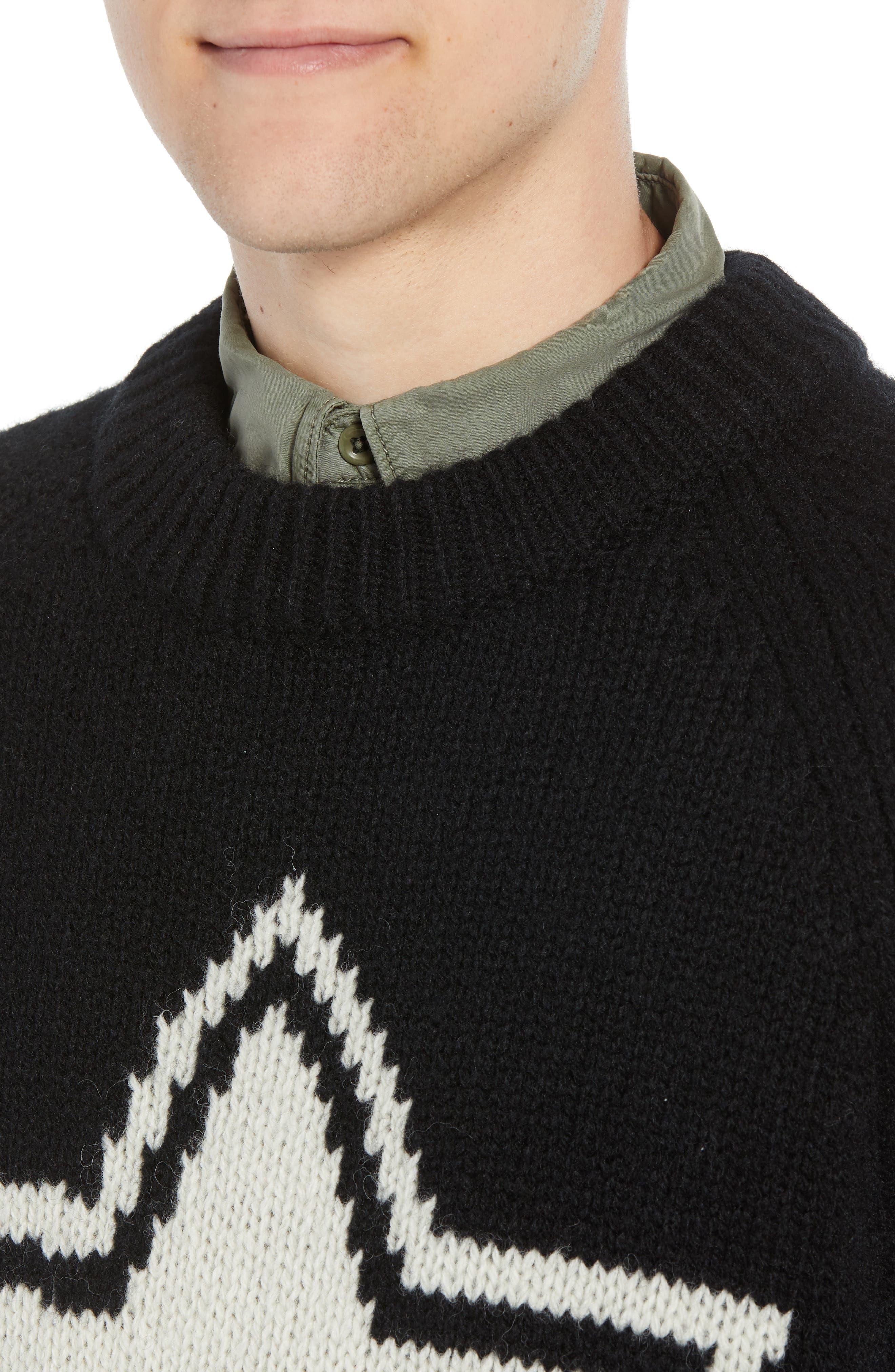 Star Wool Sweater,                             Alternate thumbnail 4, color,                             BLACK WHITECAP GREY