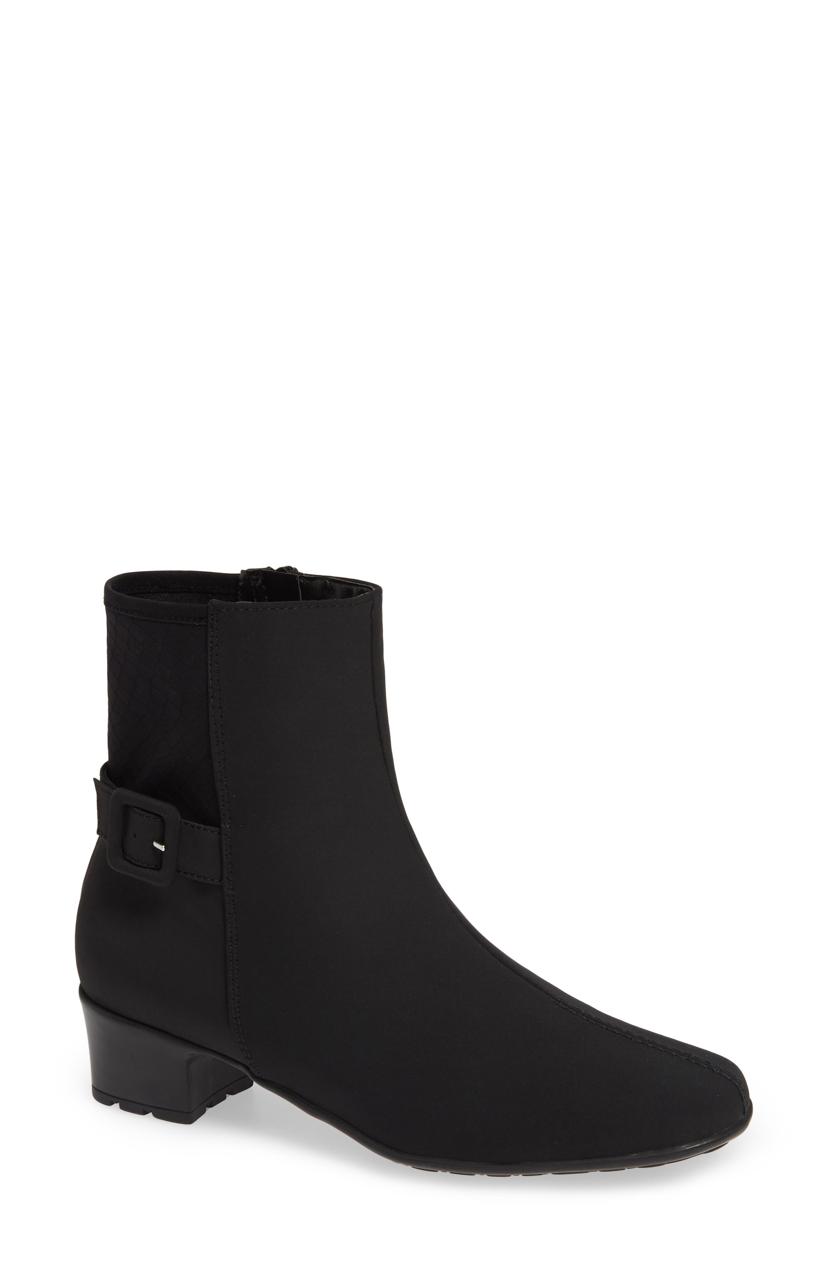 SESTO MEUCCI Ylva Waterproof Buckle Bootie in Black Fabric