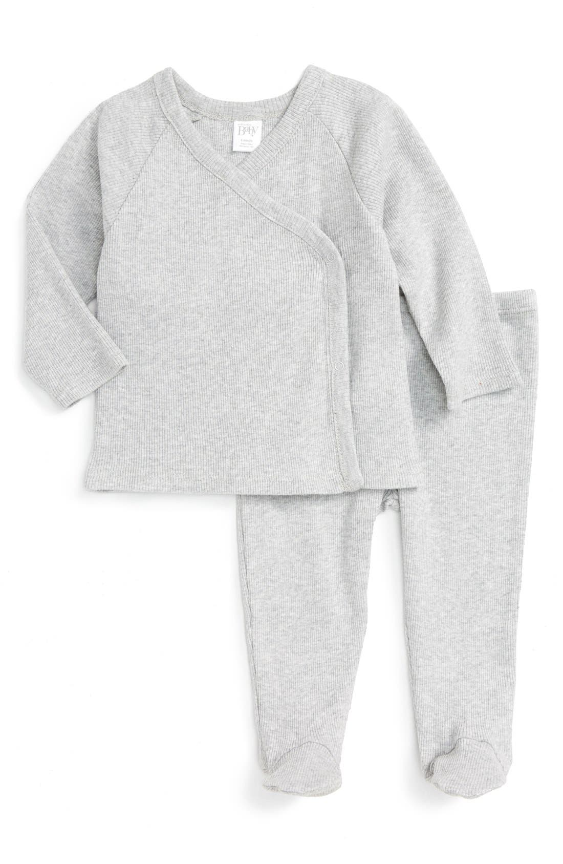 Rib Knit T-Shirt & Pants Set,                             Main thumbnail 1, color,                             GREY ASH HEATHER