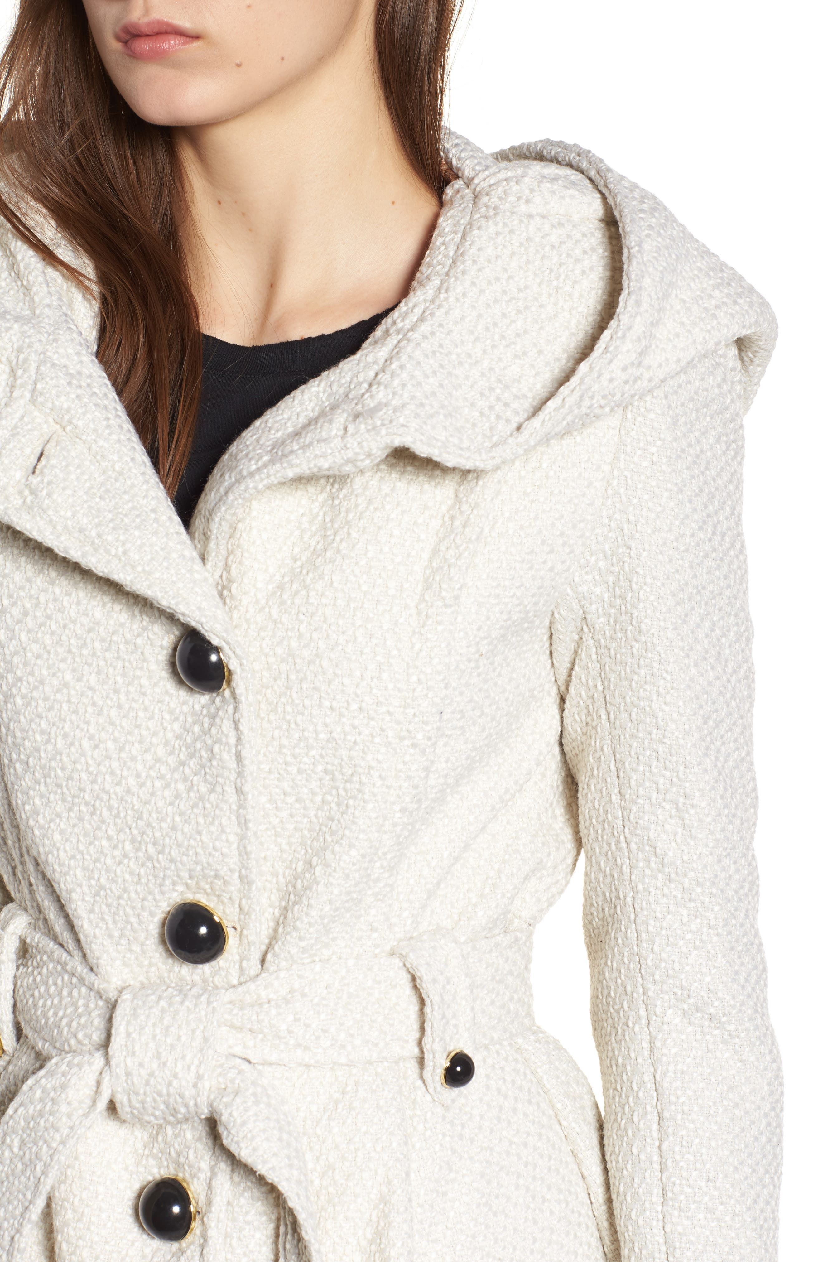 Belted Hooded Skirted Coat,                             Alternate thumbnail 4, color,                             902