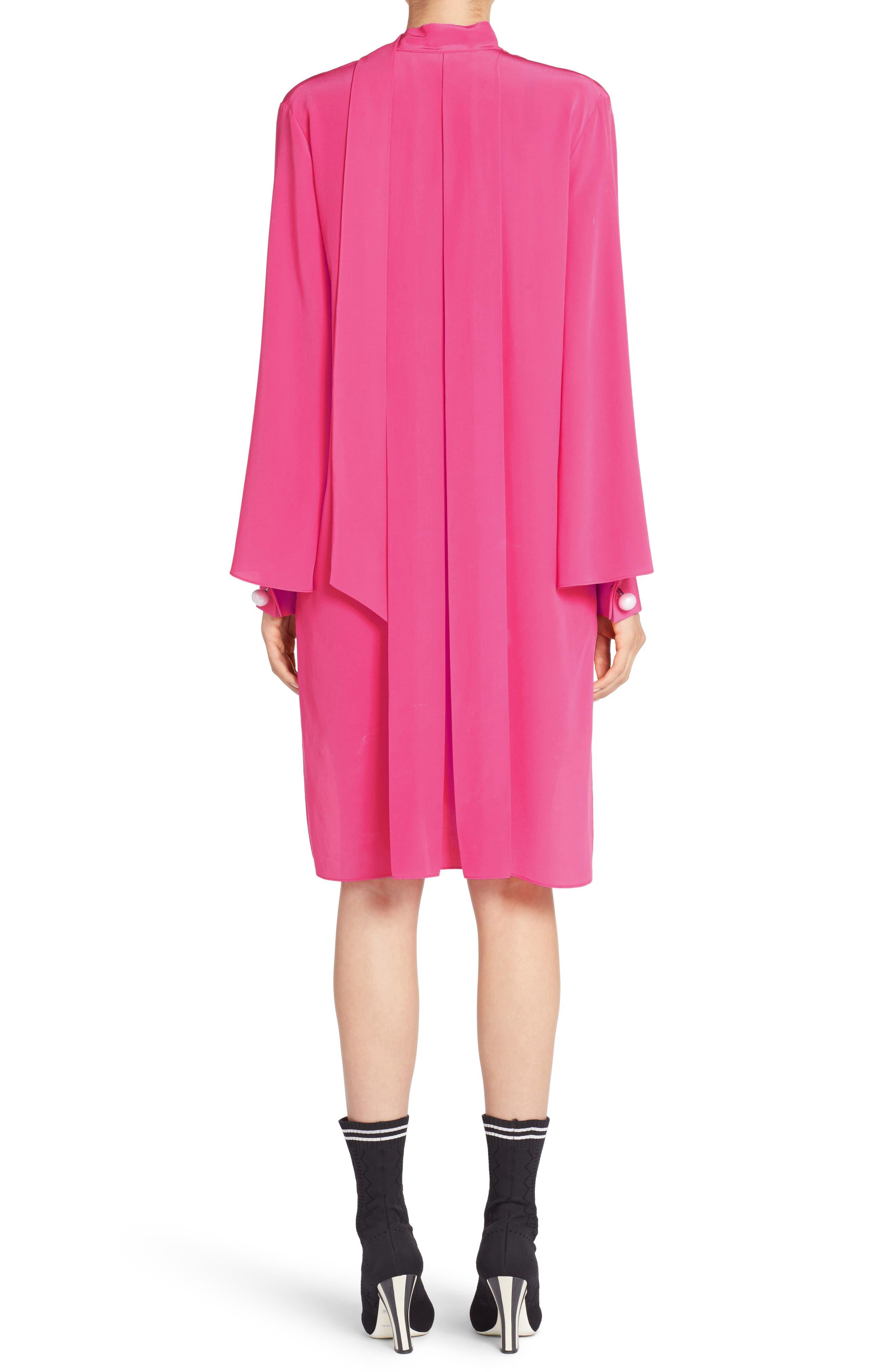 Drape Silk Crêpe de Chine Dress,                             Alternate thumbnail 2, color,                             650