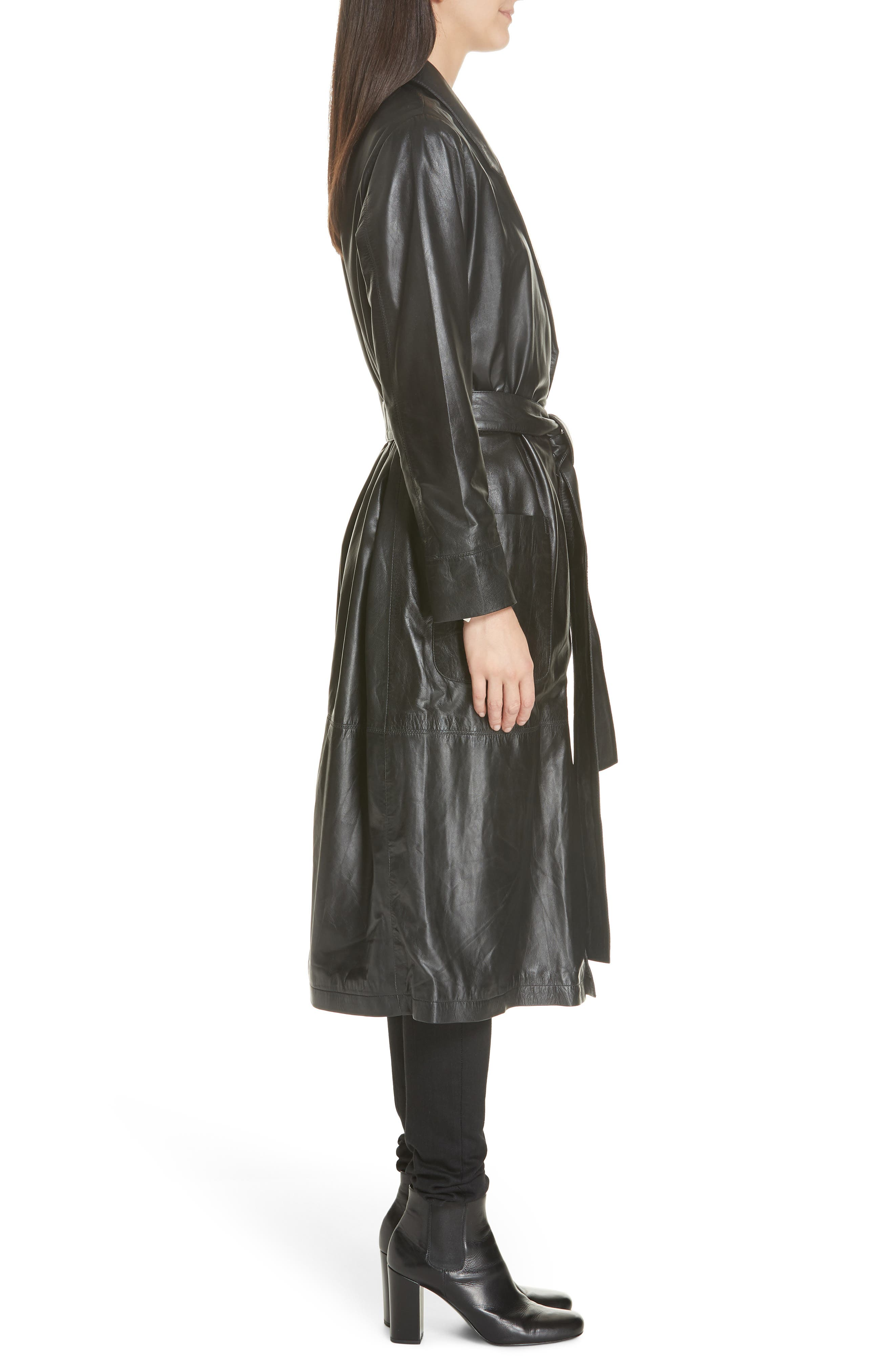 Leather Trench Coat,                             Alternate thumbnail 3, color,                             BLACK