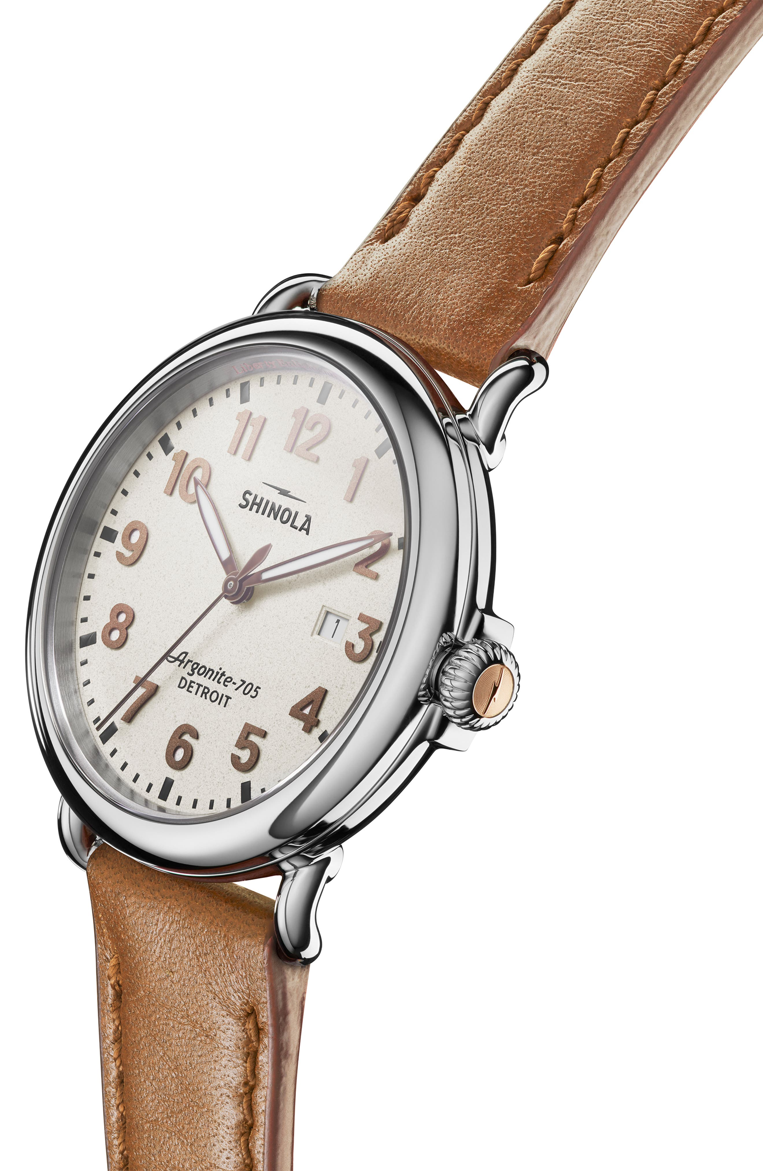 The Runwell - Statue of Liberty Leather Strap Watch, 41mm,                             Alternate thumbnail 6, color,                             BROWN/ GREY/ SILVER