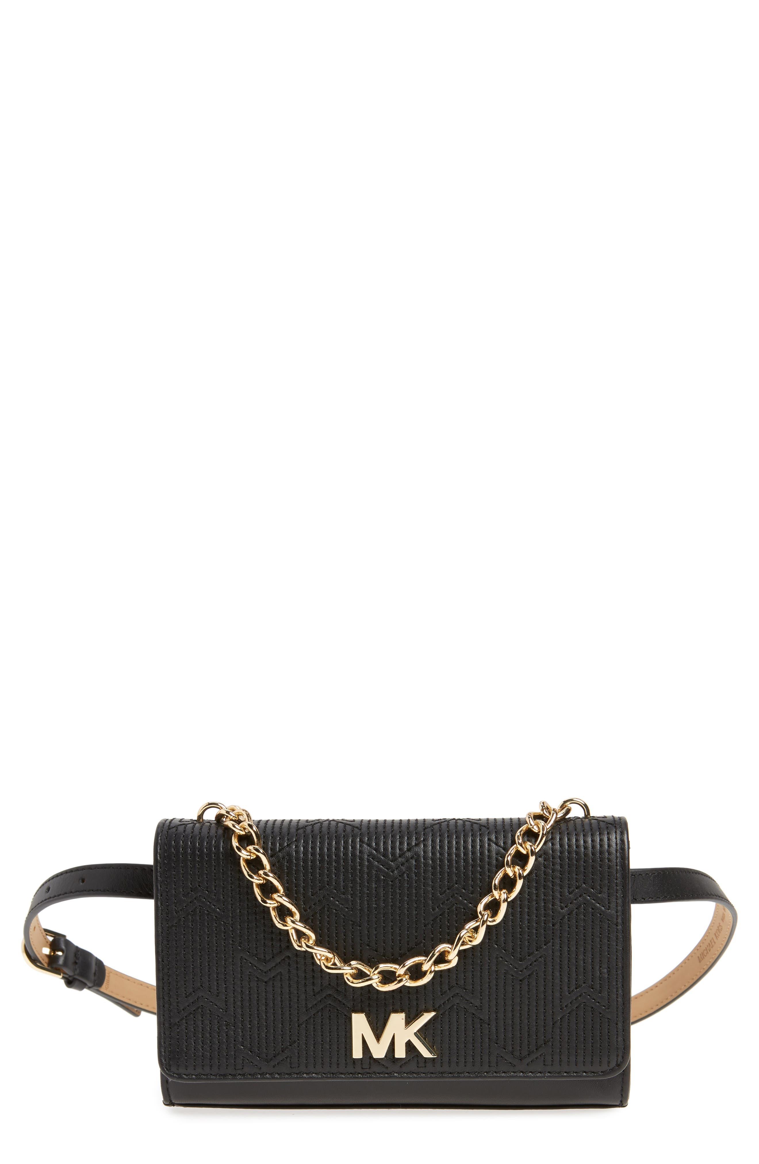 Deco M Quilted Leather Belt Bag,                         Main,                         color, BLACK