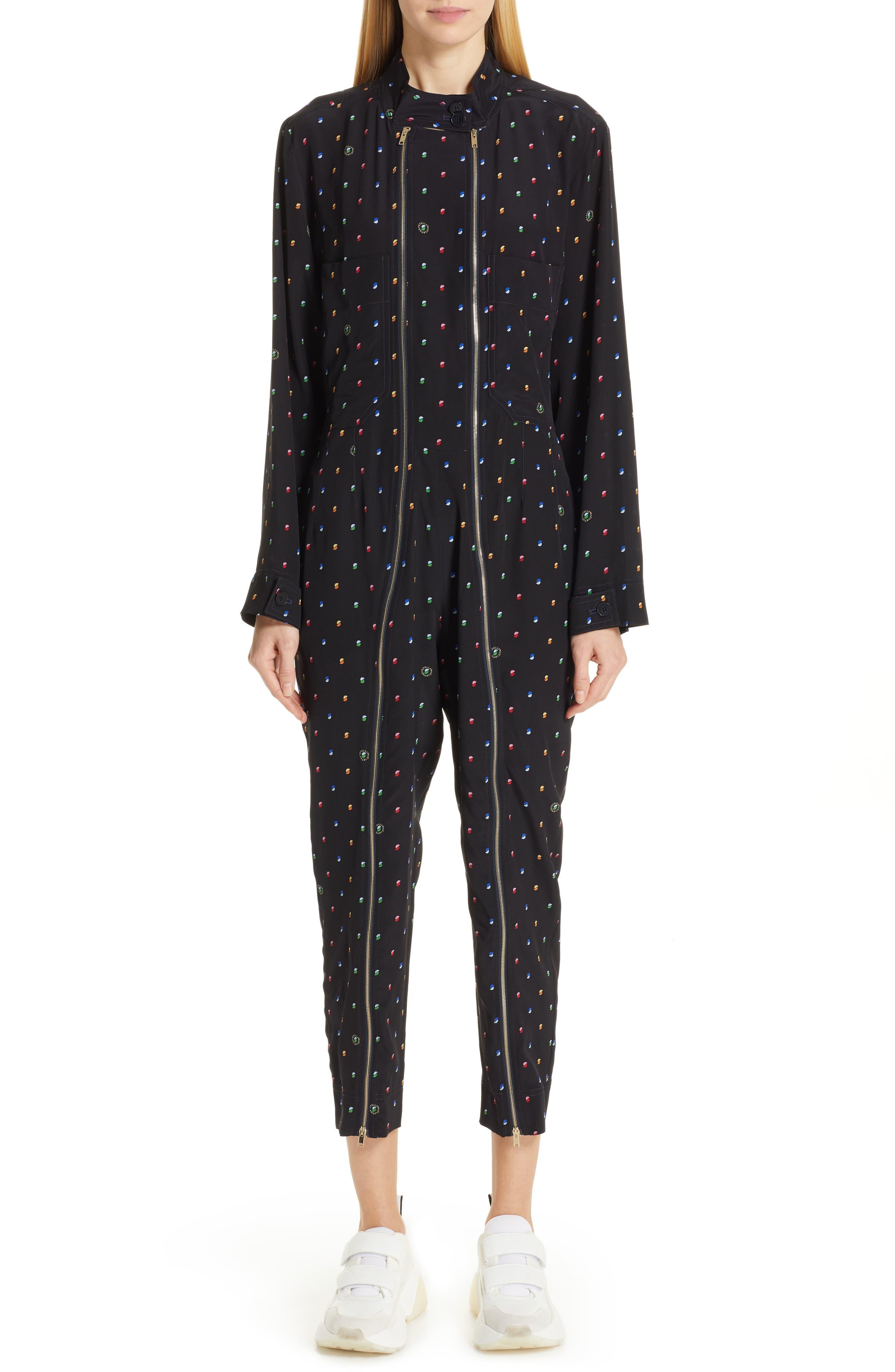 Alma Silk Ditsy Print Zipper-Front Jumpsuit in Ink