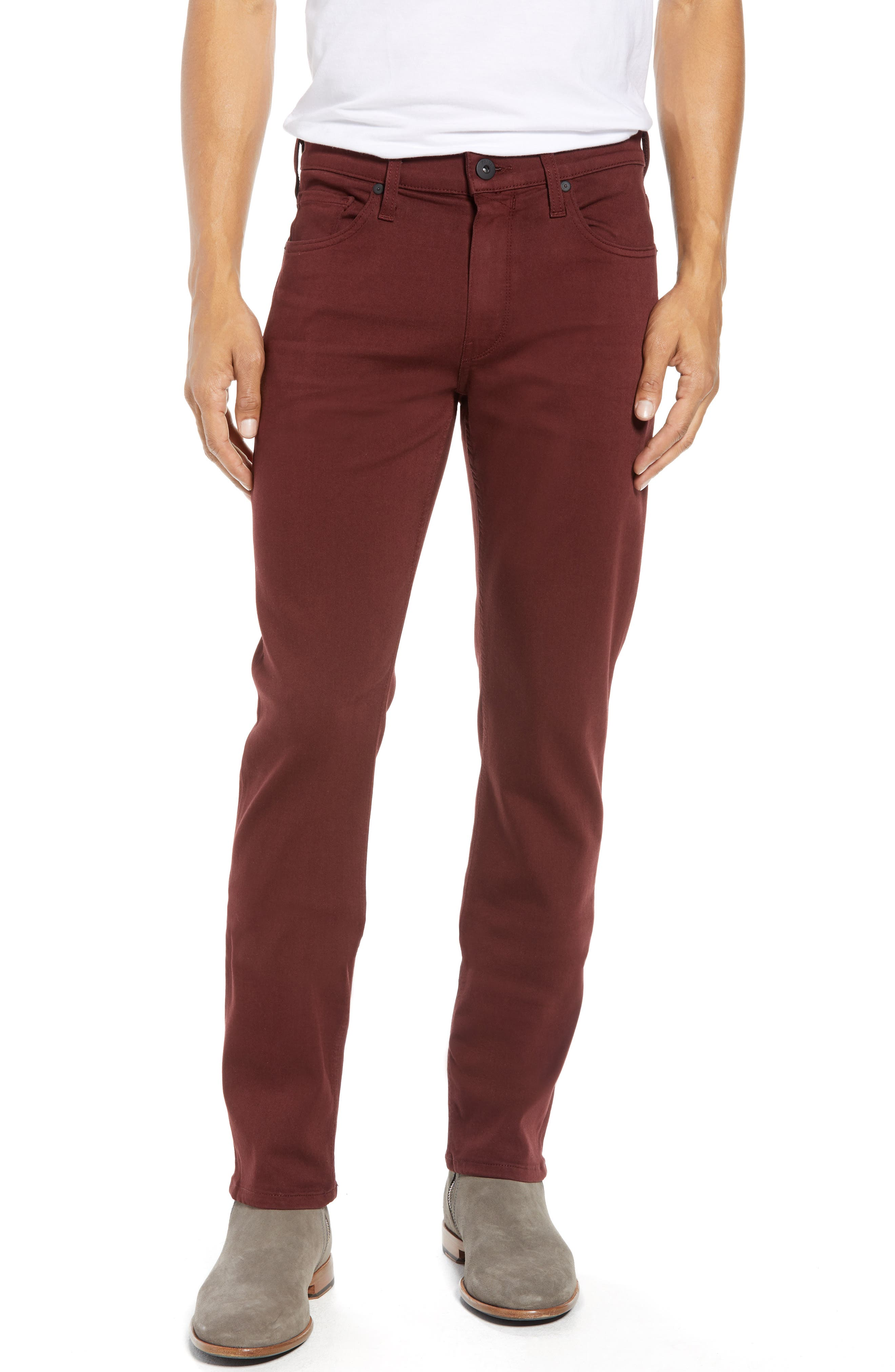 Transcend - Federal Slim Straight Leg Jeans,                             Main thumbnail 1, color,                             RUSTIC WINE