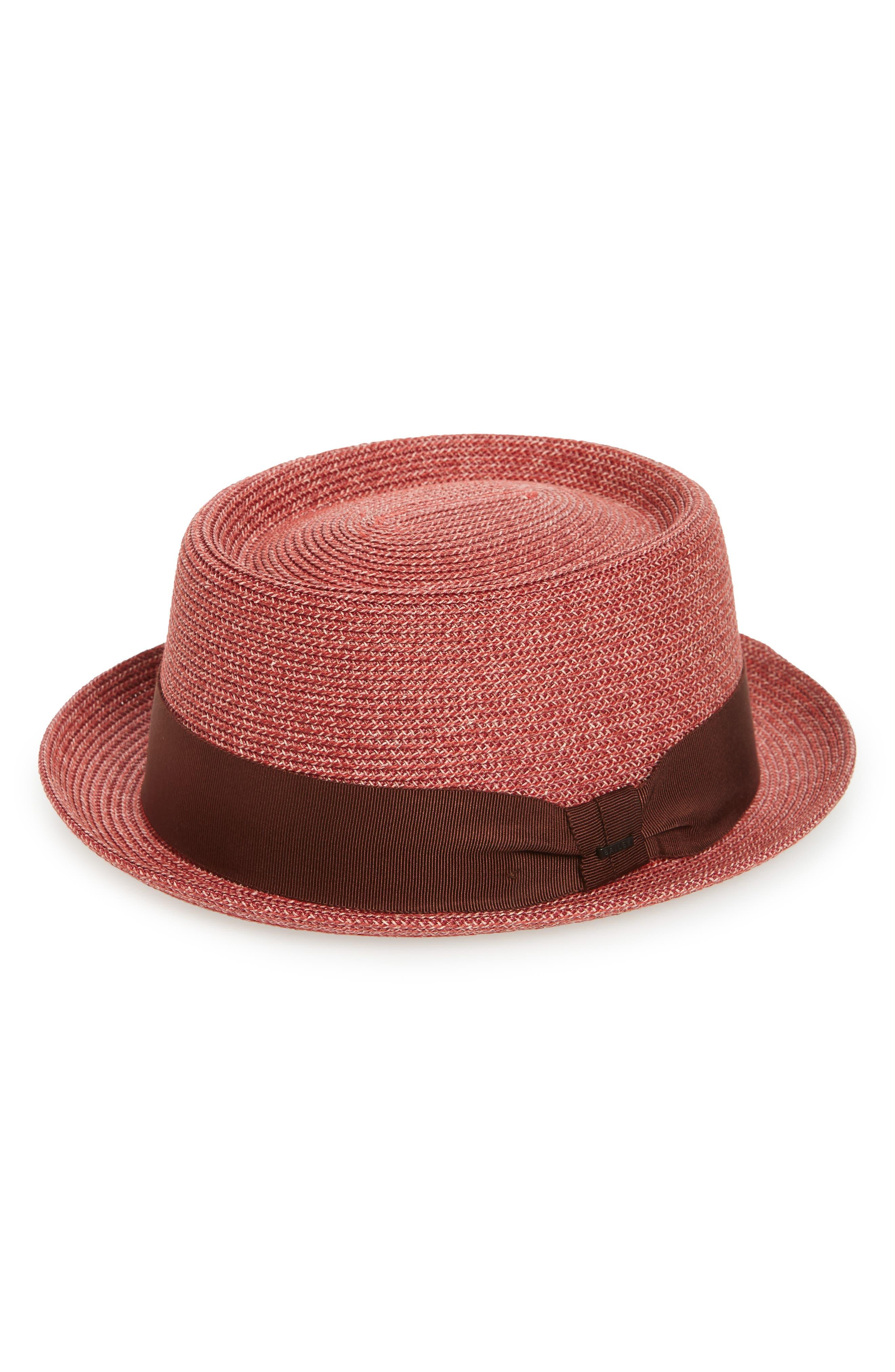 1960s Men's Clothing, 70s Men's Fashion Mens Bailey Waits Porkpie Hat - Red $34.98 AT vintagedancer.com
